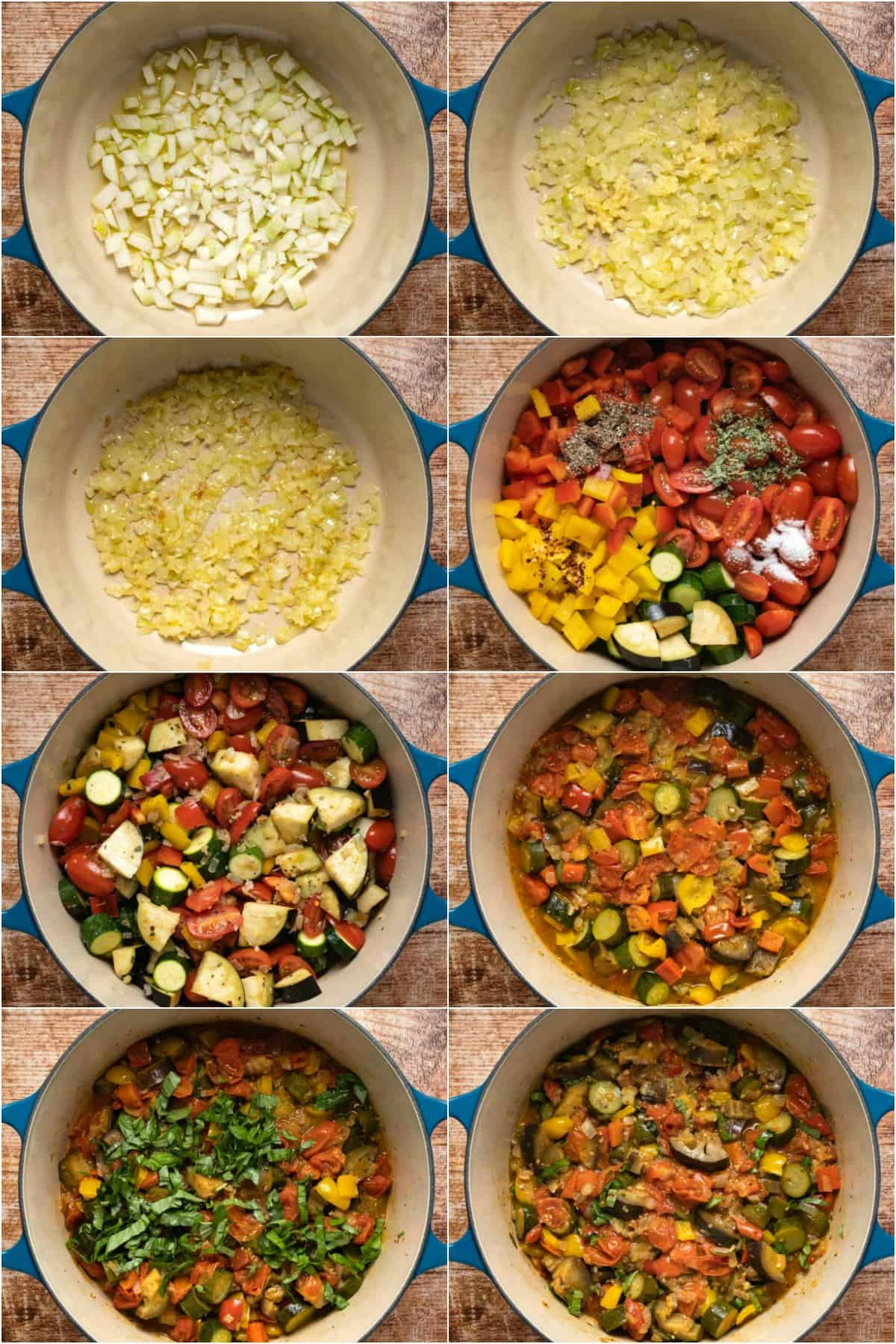 Step by step process photo collage of making ratatouille.