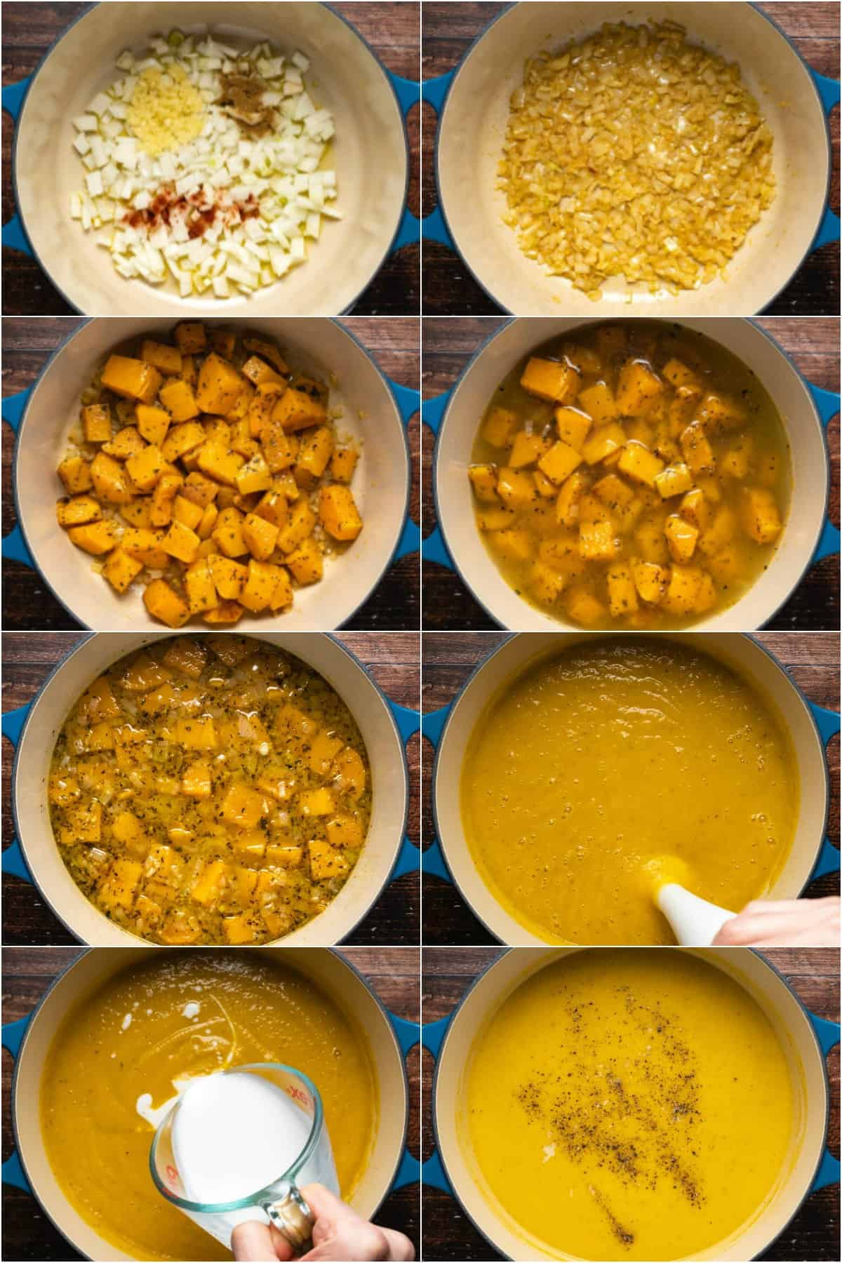 Step by step process photo collage of making vegan butternut squash soup.