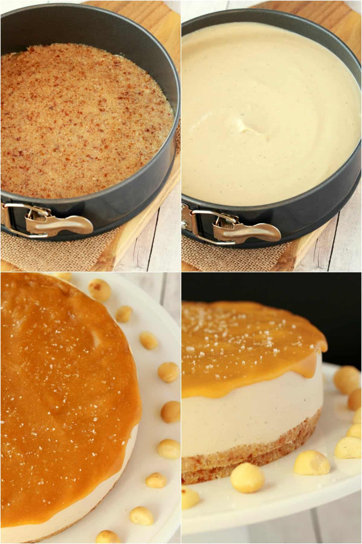 Process photo collage of making vegan cheesecake.