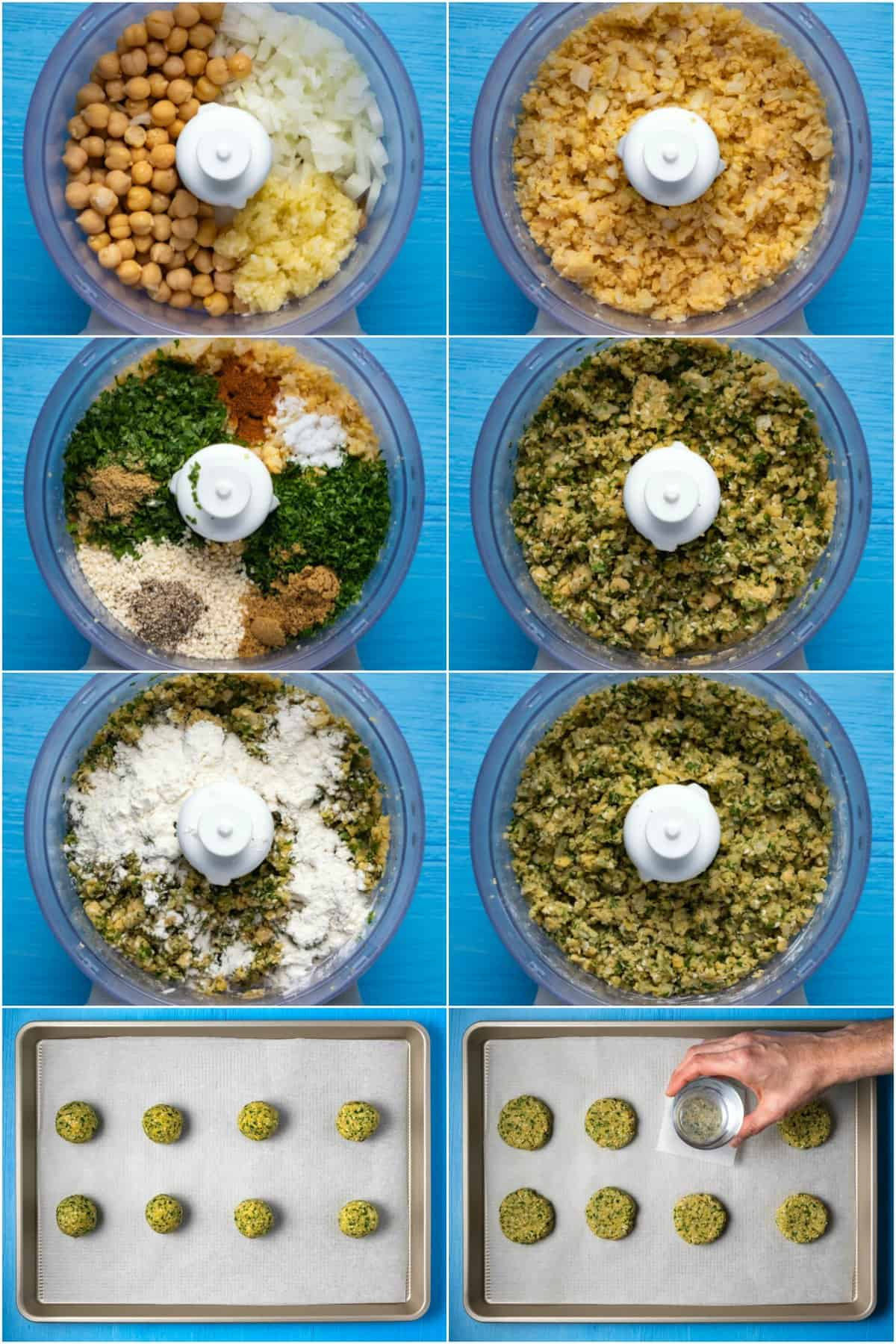 Step by step process photo collage of making falafel.