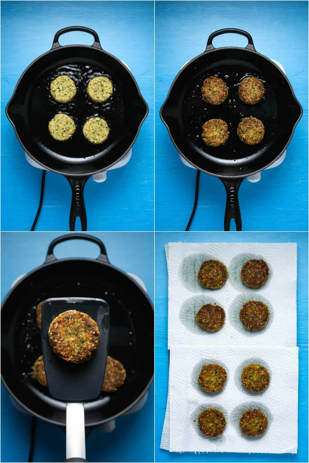 Step by step process photo collage of frying falafel.