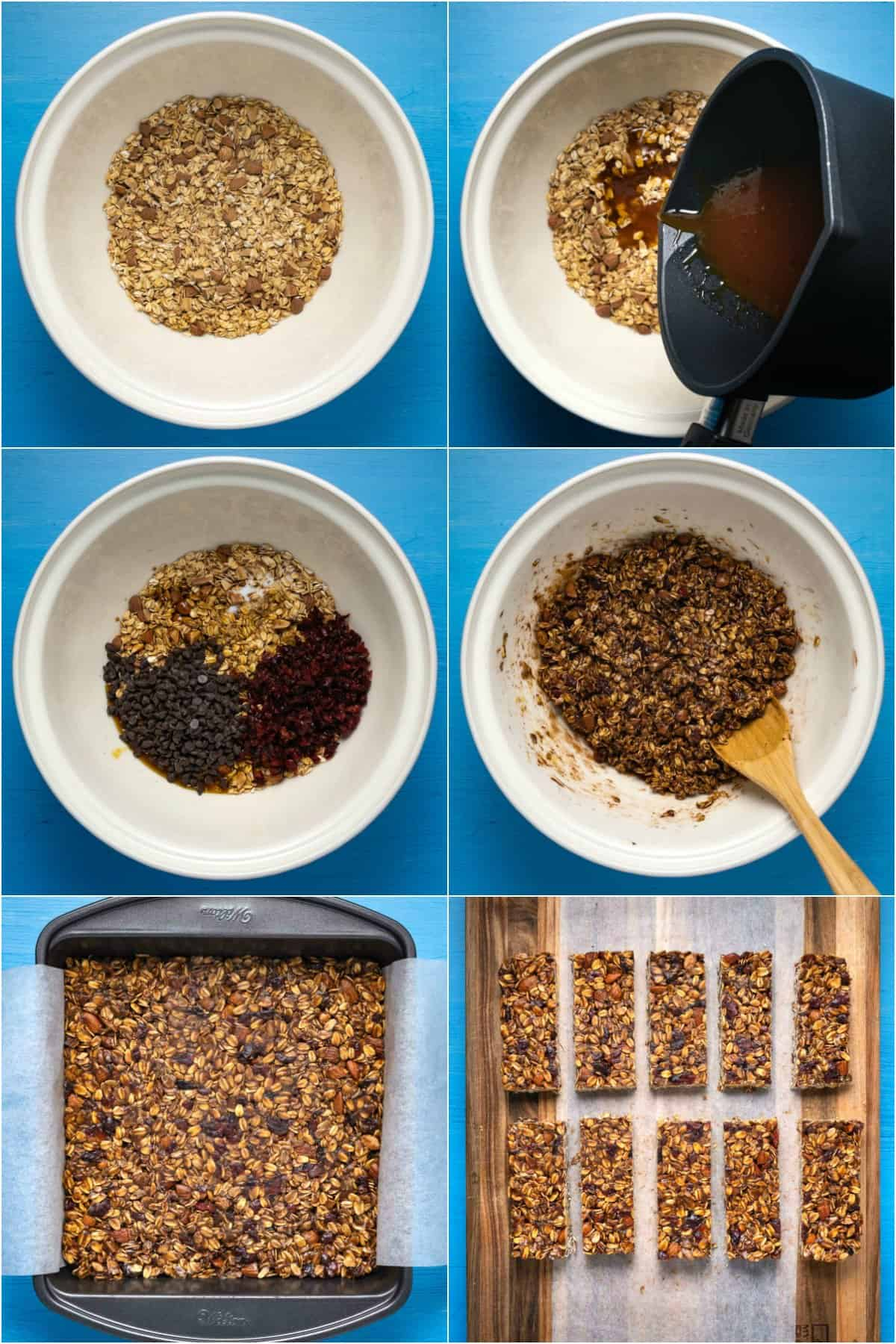 Step by step process photo collage of making vegan granola bars.