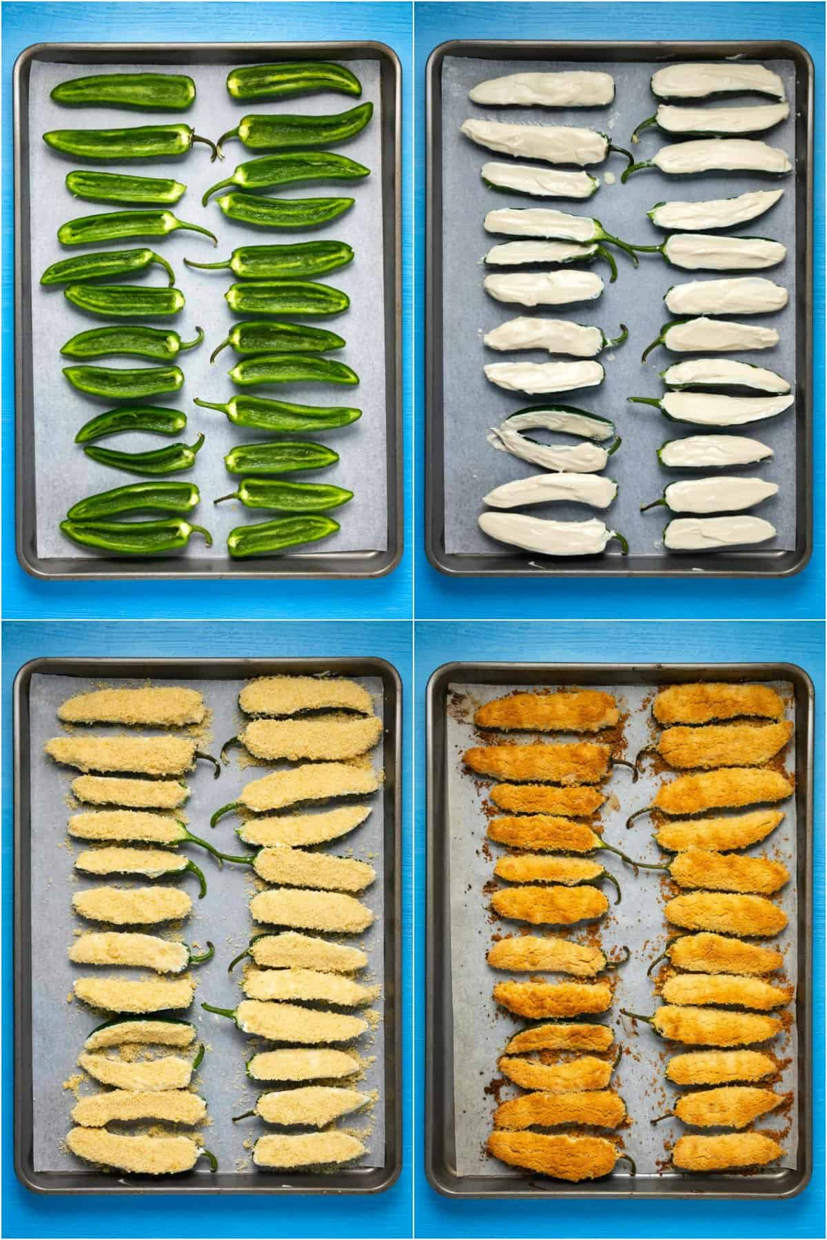 Step by step process photo collage of making baked jalapeño poppers.