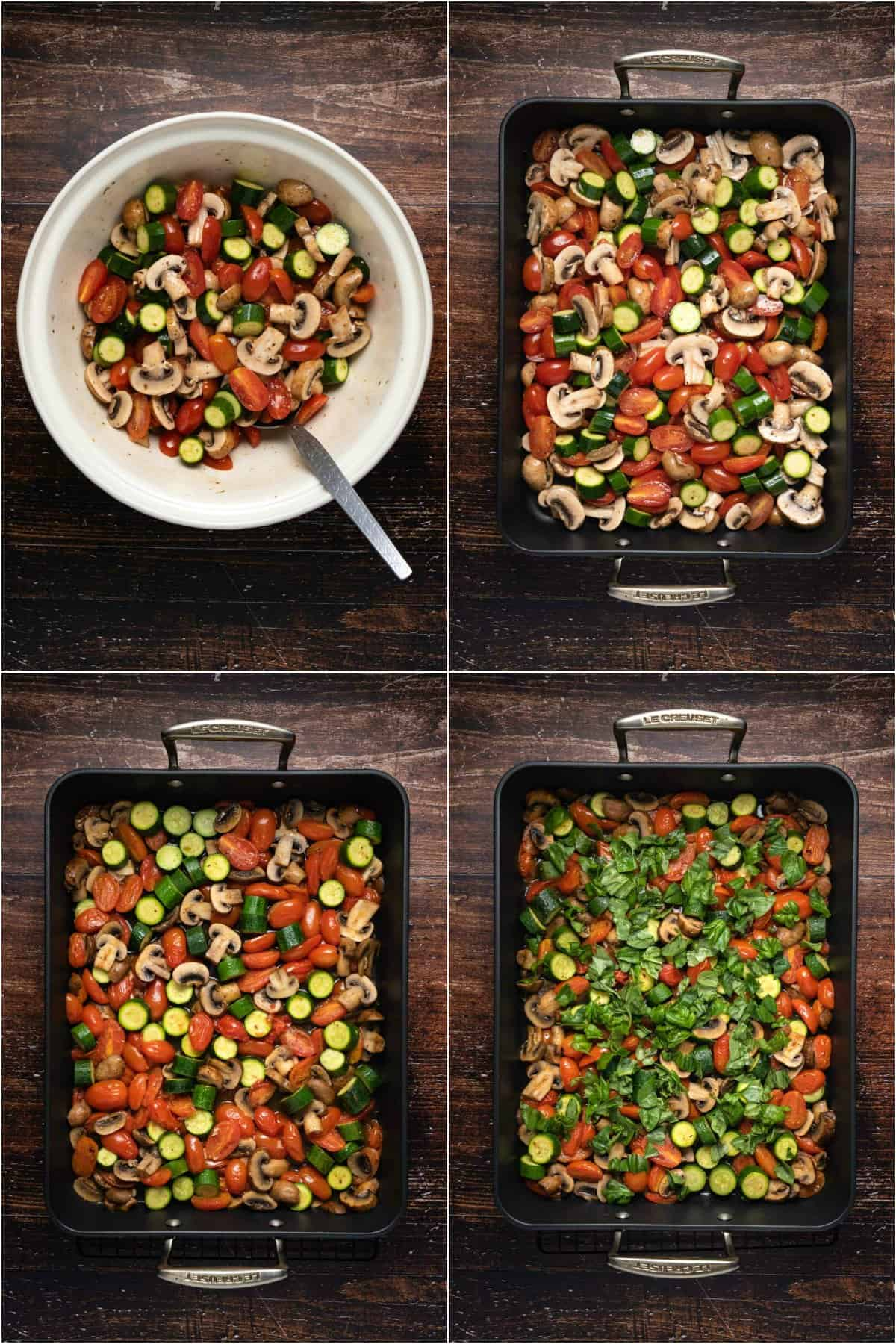 Step by step process photo collage of making roasted vegetables.
