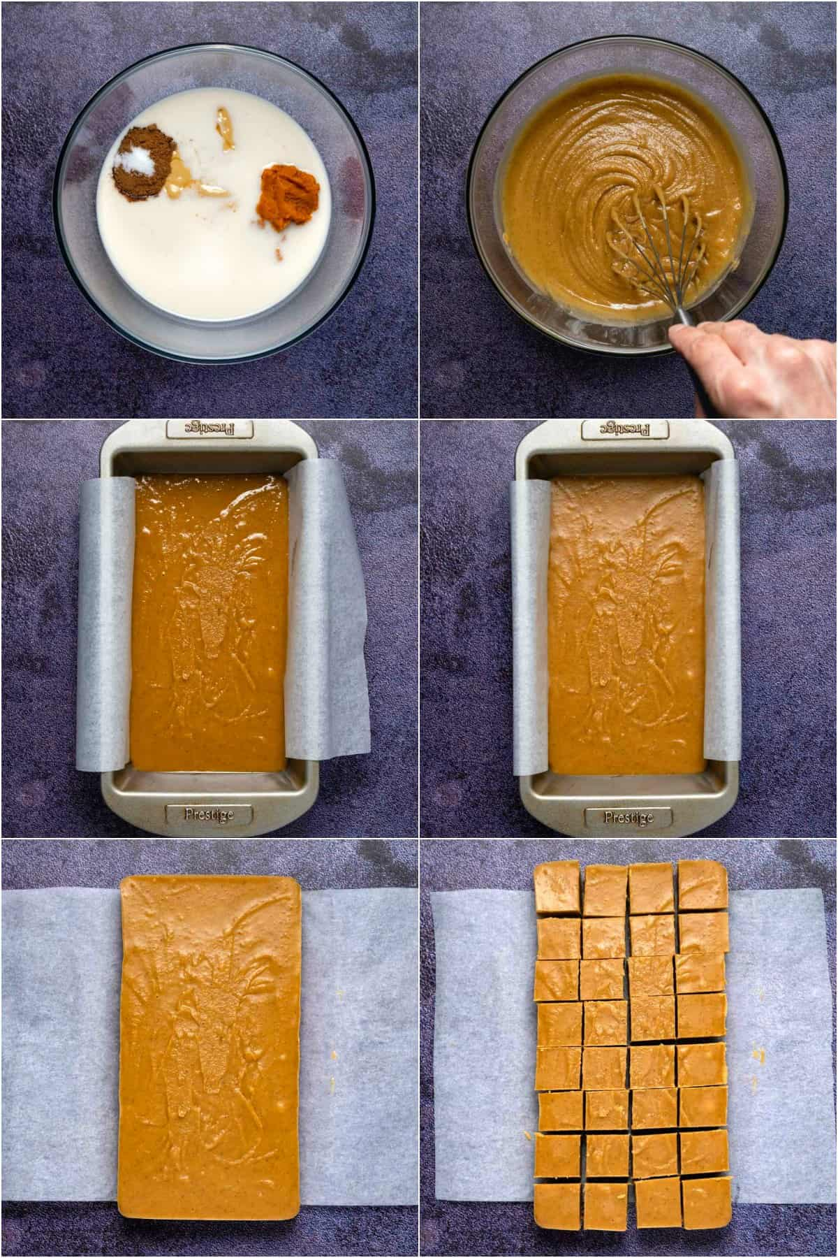 Step by step process photo collage of making pumpkin fudge.