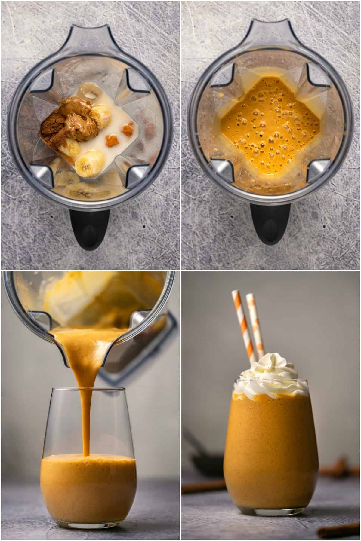 Step by step process photo collage of making a pumpkin pie smoothie.
