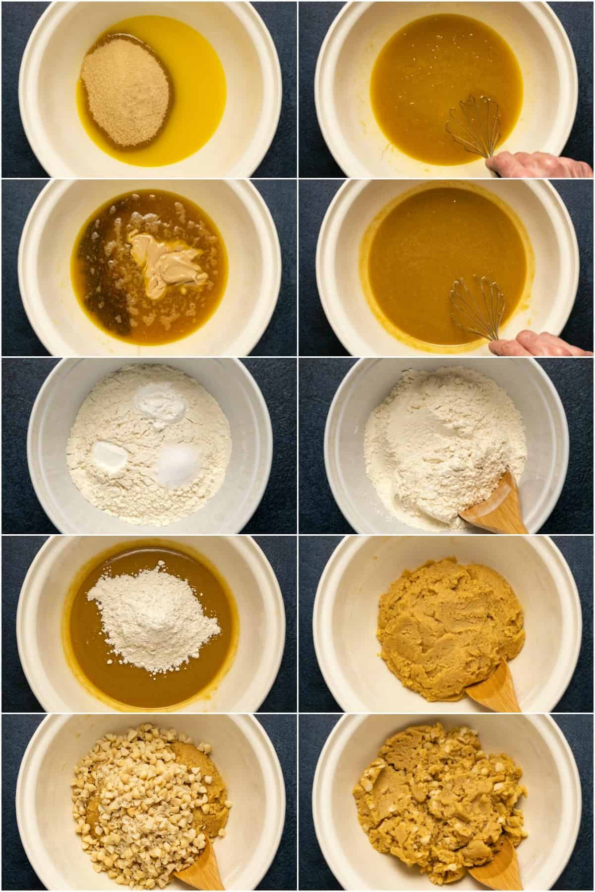 Step by step process photo collage of making the batter for vegan blondies.