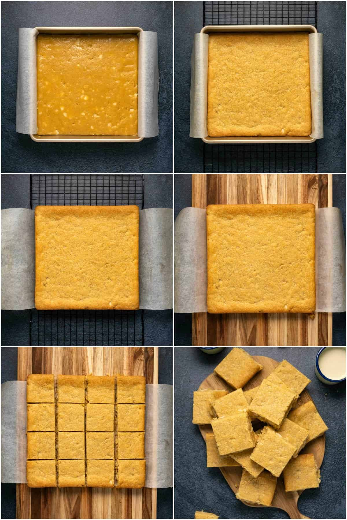 Step by step process photo collage of making vegan blondies.