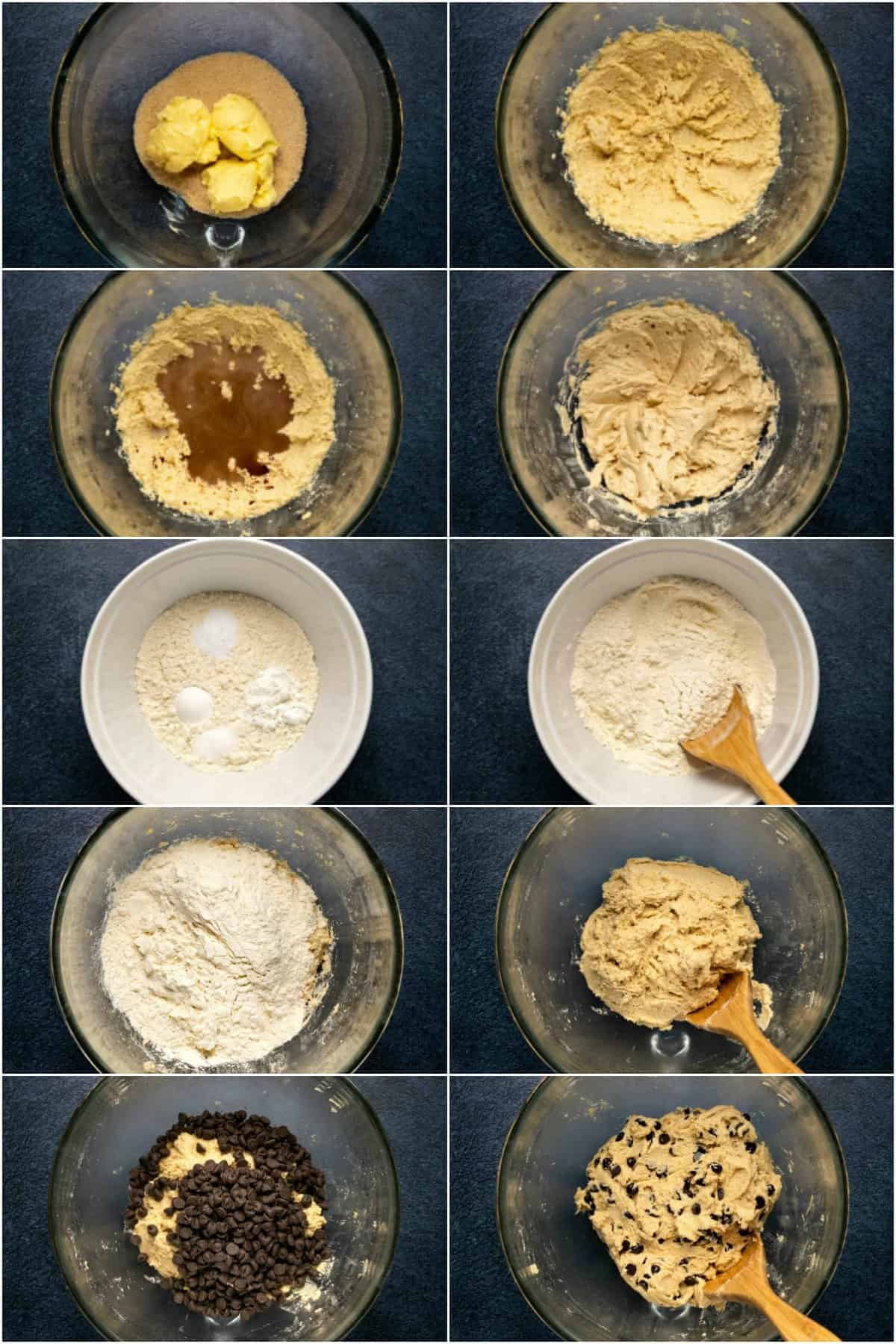 Step by step process photo collage of making the cookie dough for vegan chocolate chip cookies.