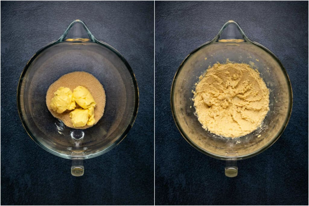 Collage of two photos showing vegan butter and sugar added to stand mixer and creamed together.