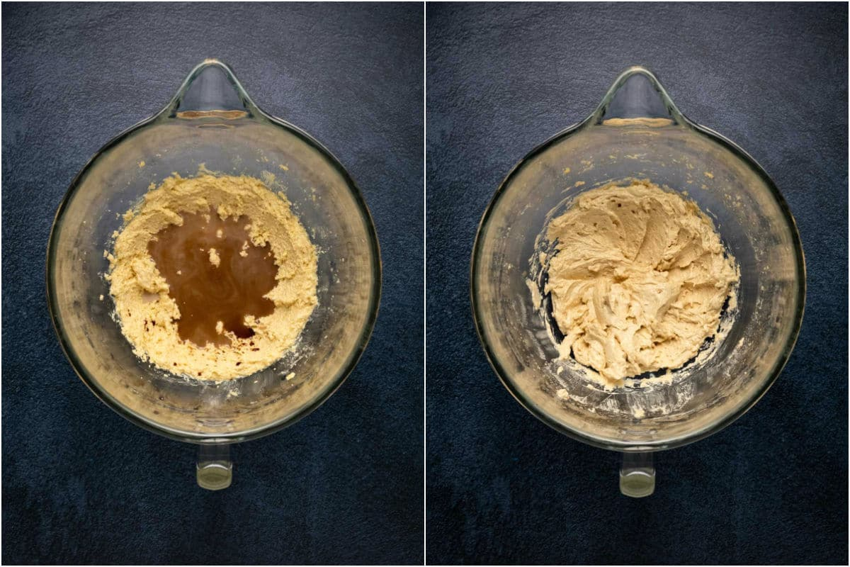 Two photo collage showing soy milk and vanilla added to stand mixer and mixed in.