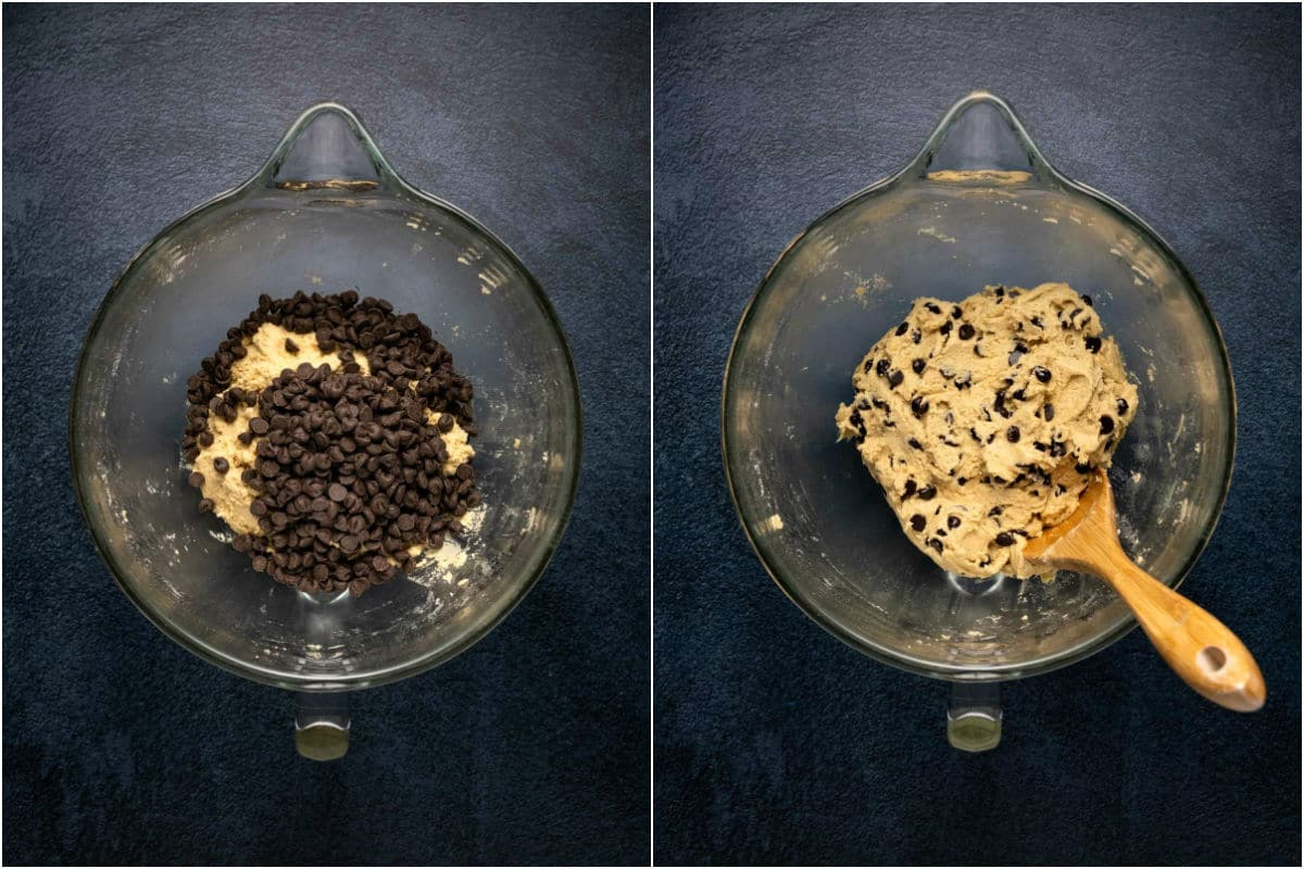 Two photo collage showing chocolate chips added to cookie dough and folded in.
