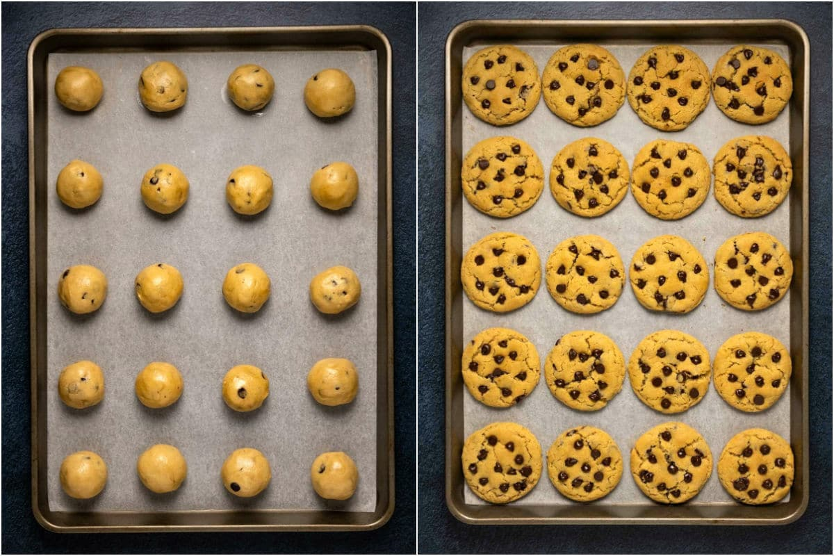 Two photo collage showing cookies on a baking tray before and after baking.