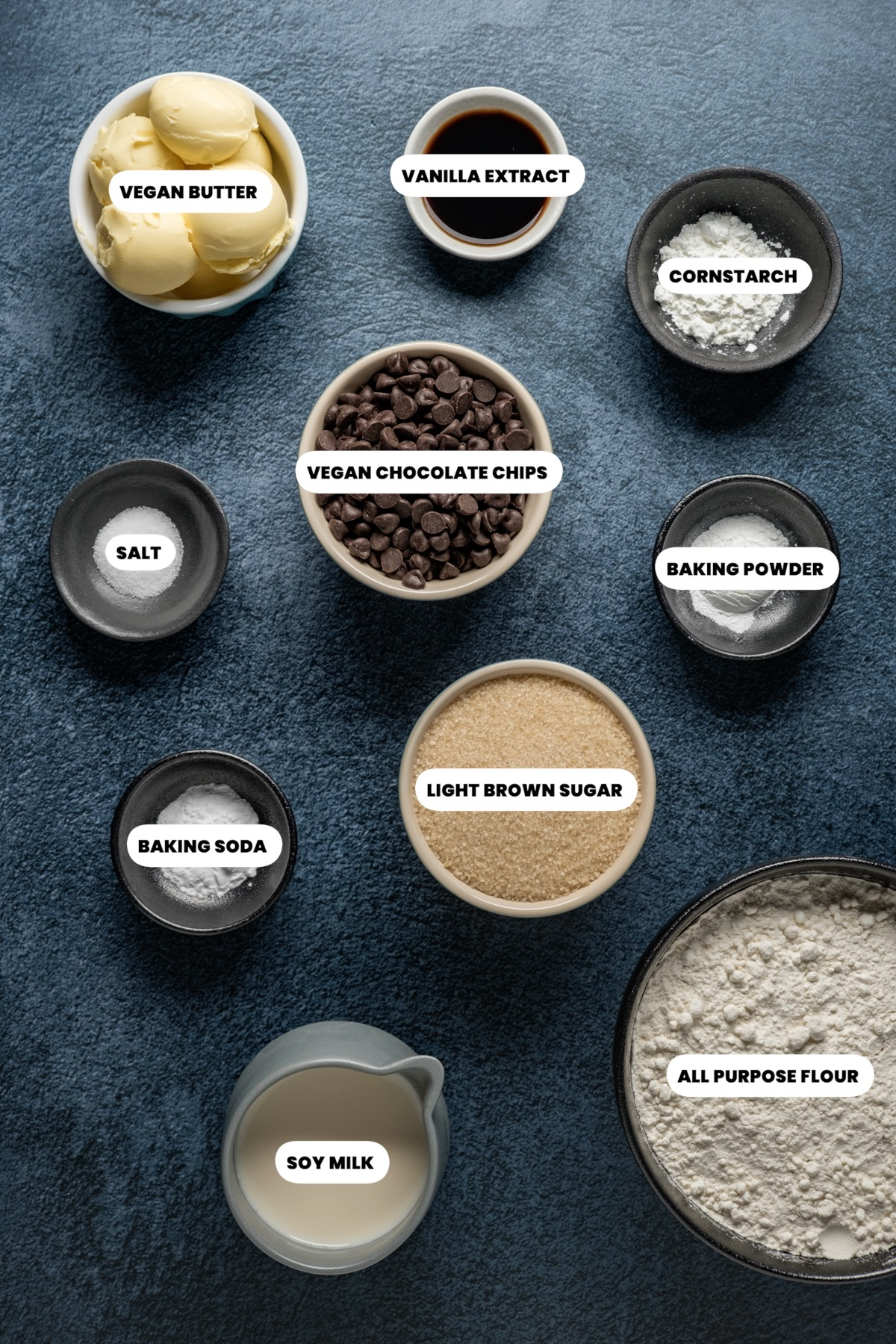 Photo of the ingredients needed to make vegan chocolate chip cookies.