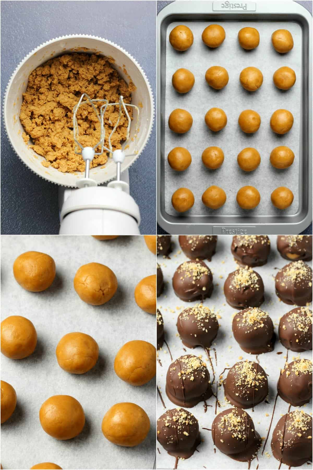 Step by step process photo collage of making vegan chocolate peanut butter balls.