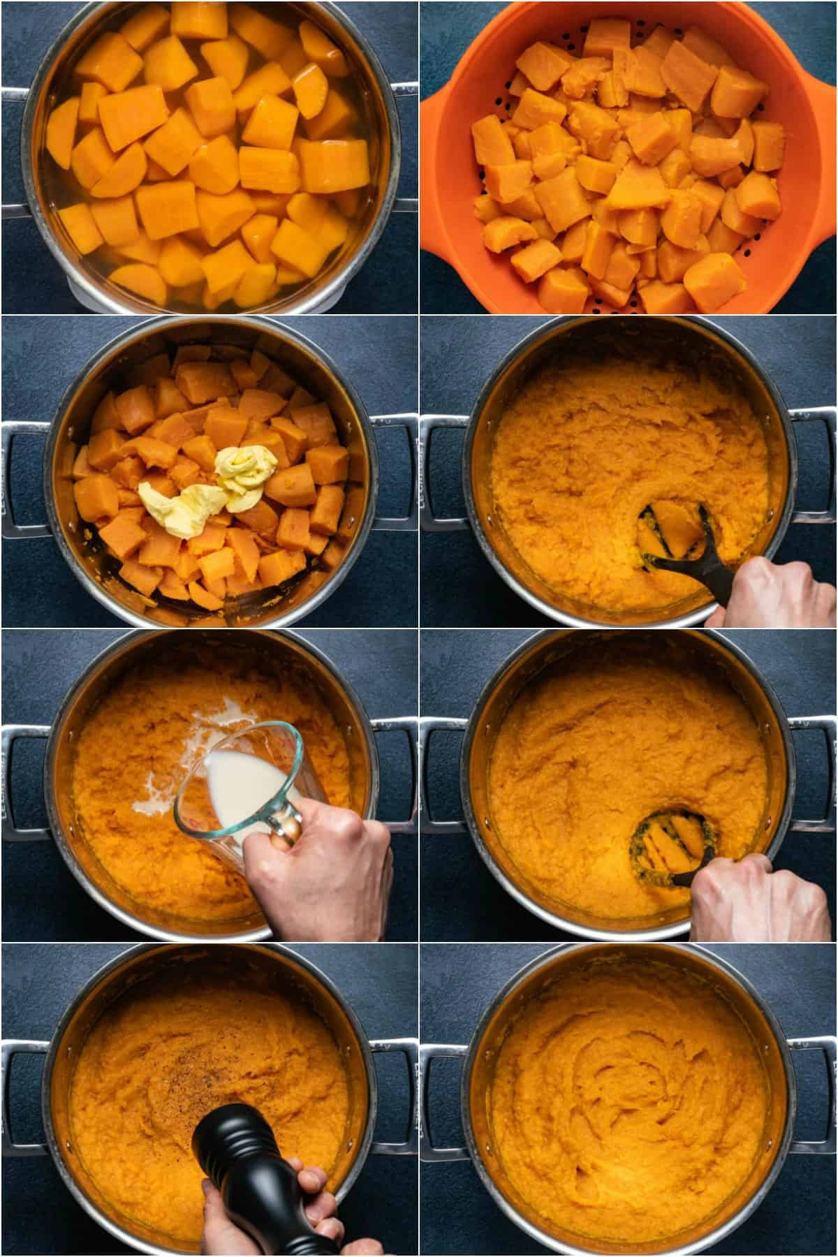 Step by step process photo collage of making vegan mashed sweet potatoes.