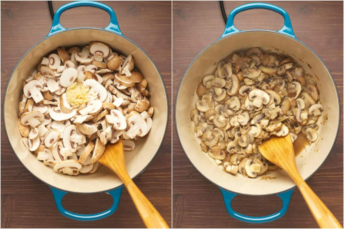 Two photo collage showing mushrooms and crushed garlic added to pot and sautéed.