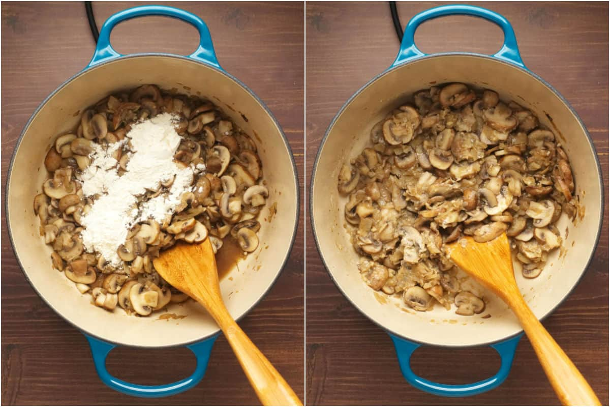 Two photo collage showing flour added to softened mushrooms and sautéed.