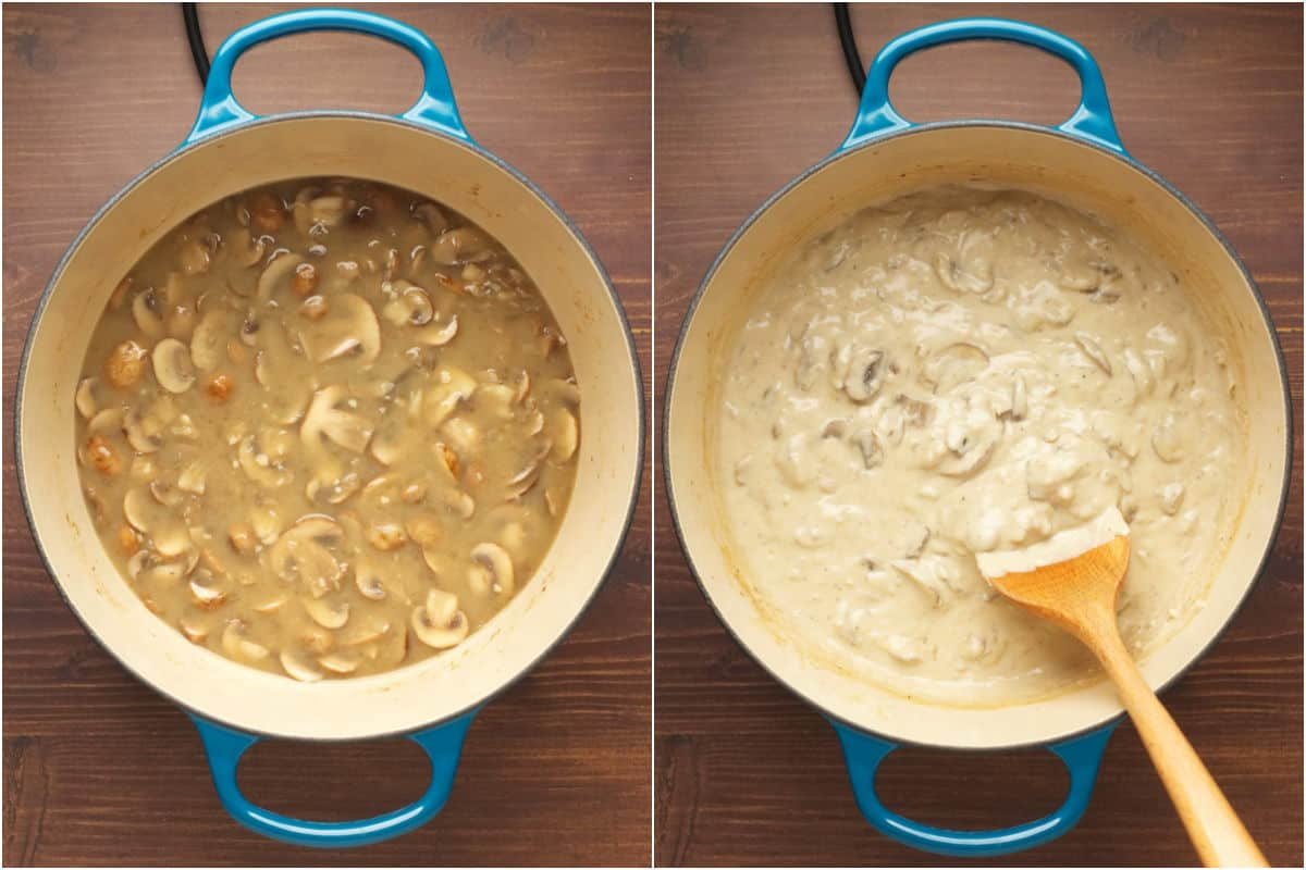 Two photo collage showing vegetable stock, soy sauce, mustard and vegan sour cream added to mushrooms and stirred in until thickened.