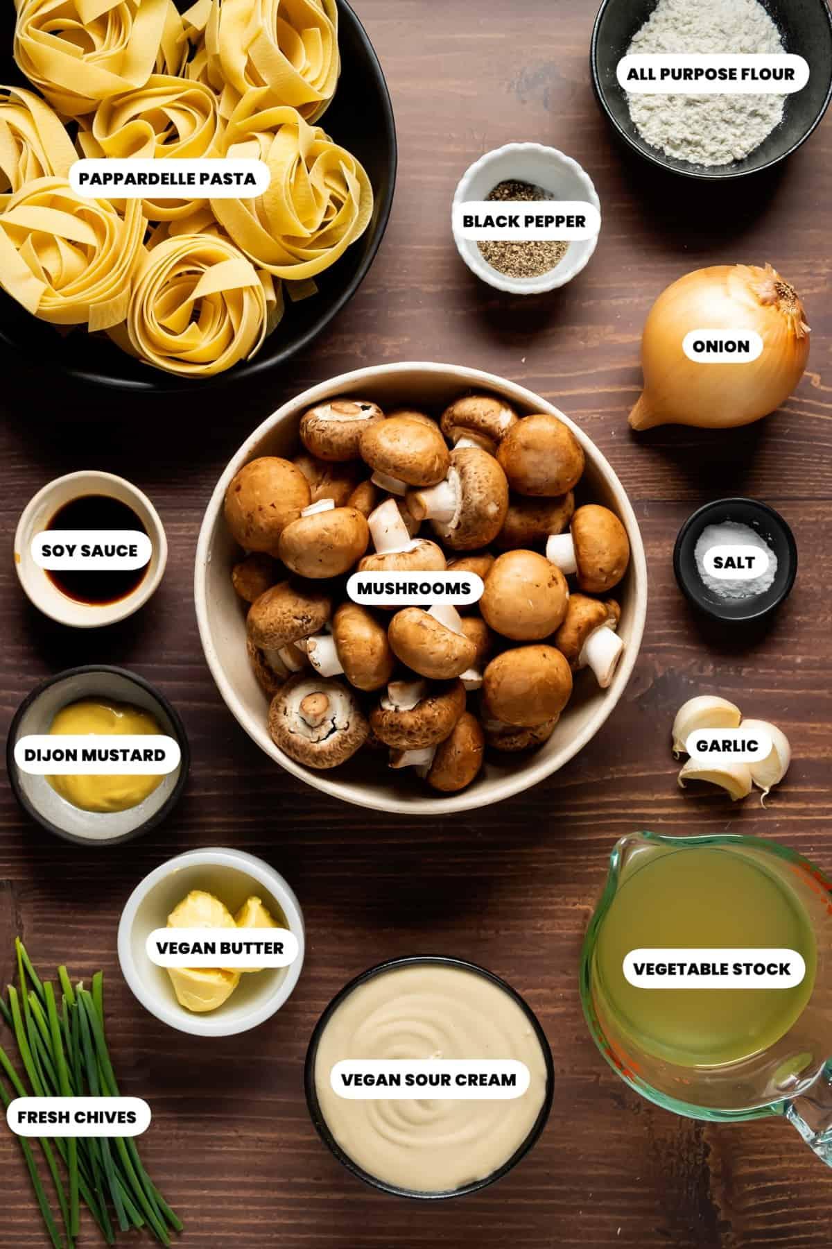 Photo of the ingredients needed to make vegan mushroom stroganoff.