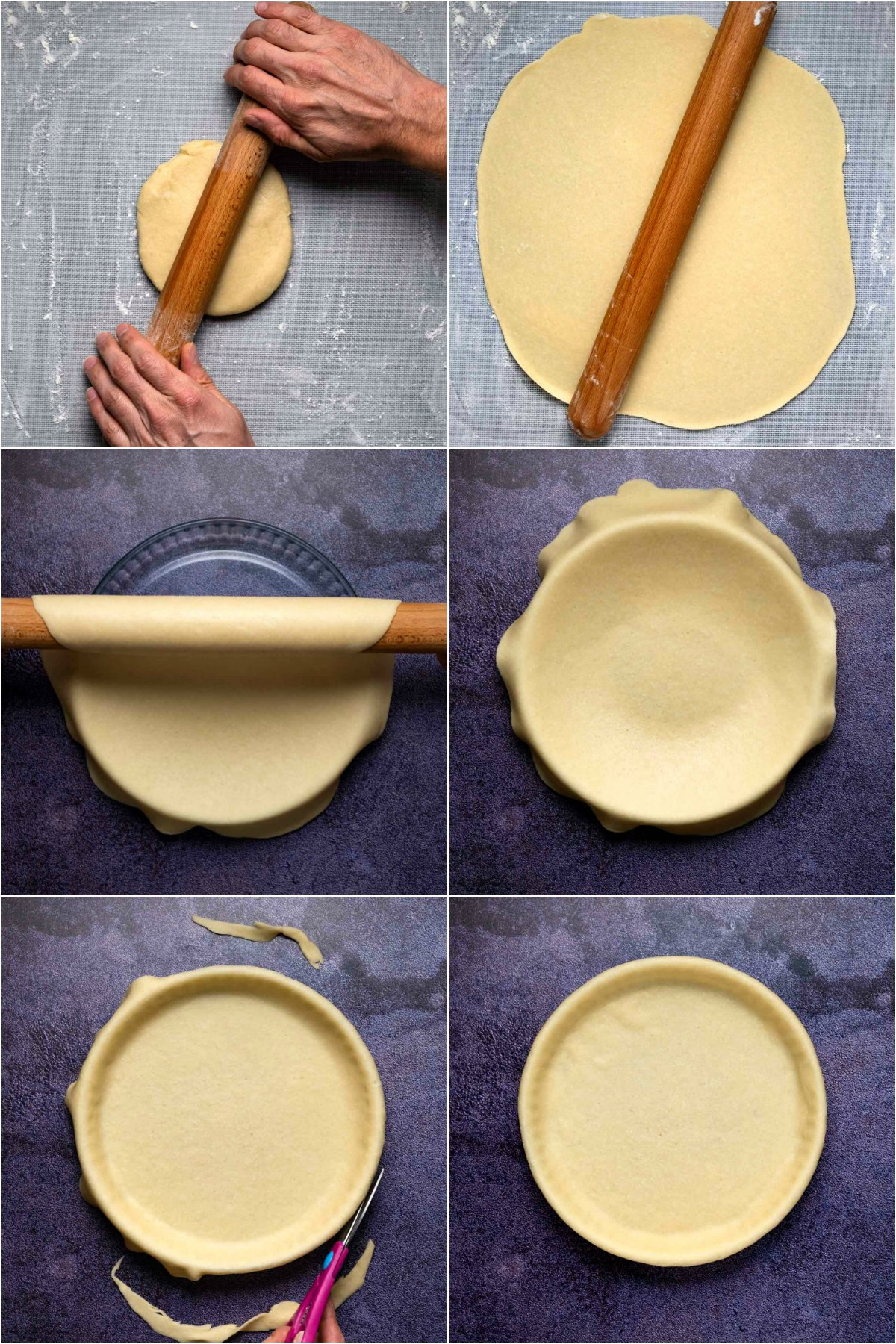 Step by step process photo collage of making a coconut oil pie crust.