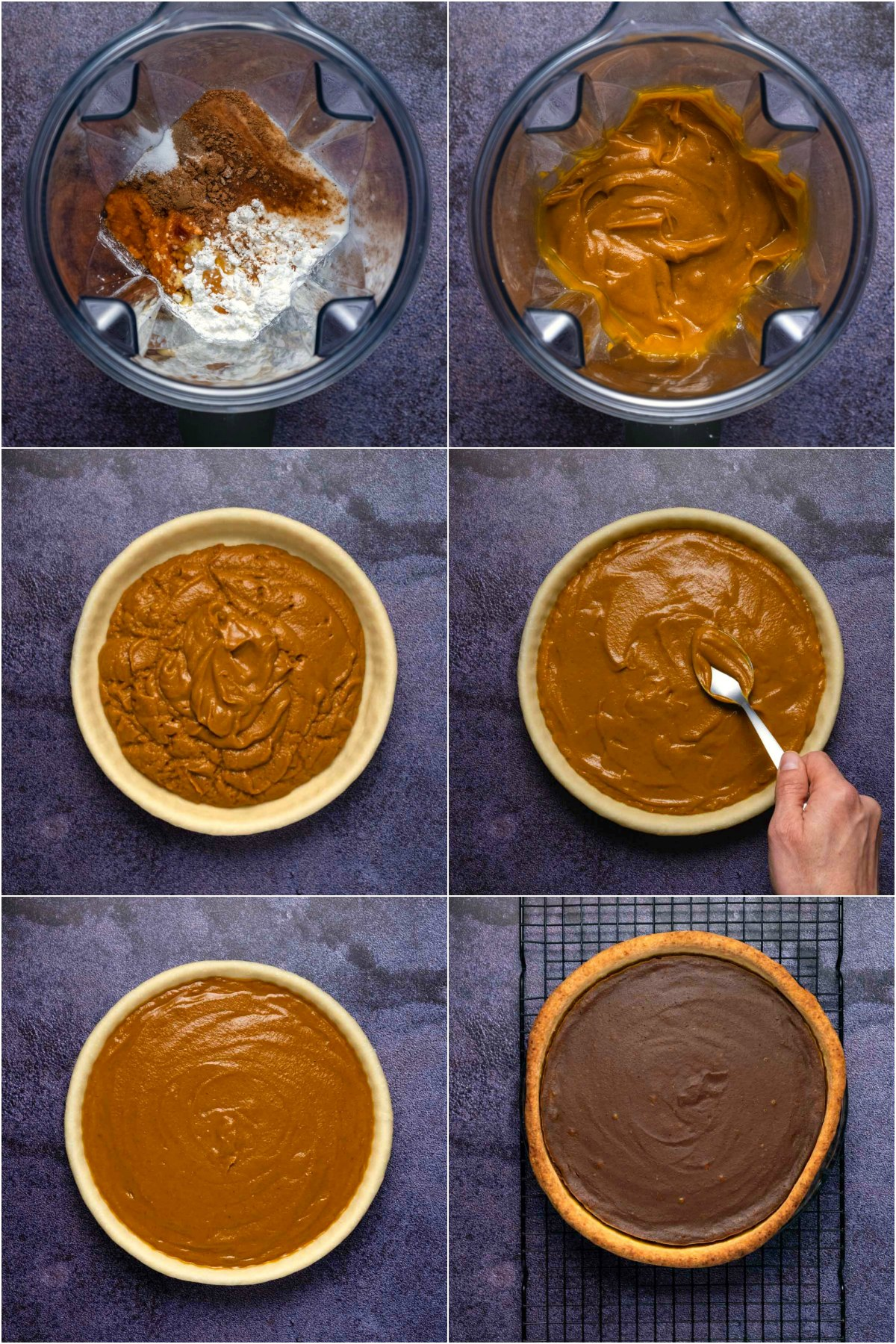 Step by step process photo collage of making vegan pumpkin pie.