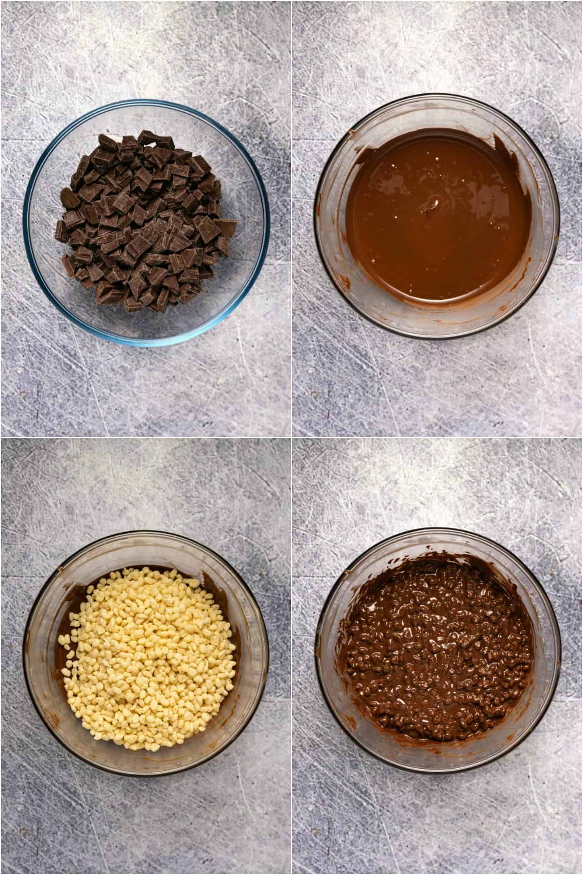 Step by step process photo collage of making crunch bars.