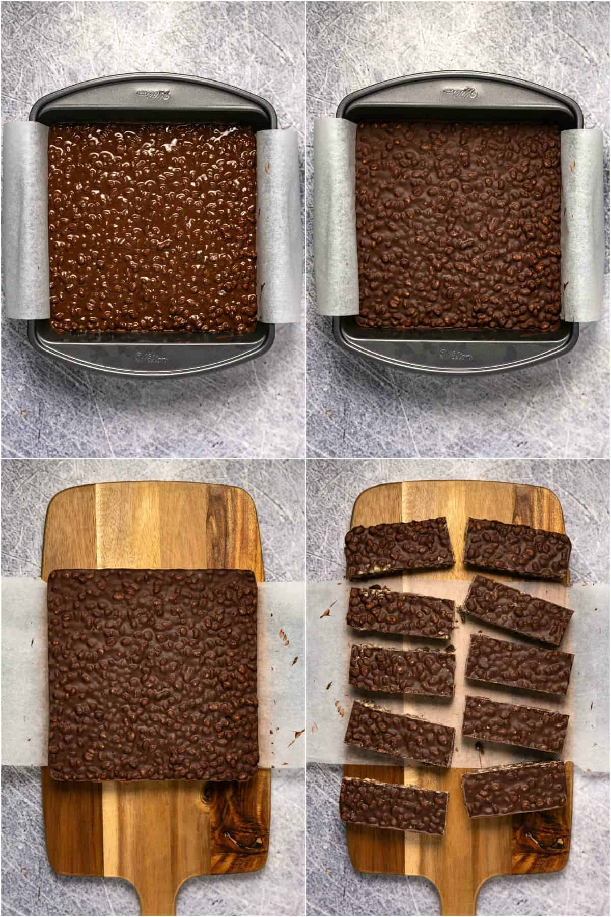 Step by step process photo collage of making vegan crunch bars.