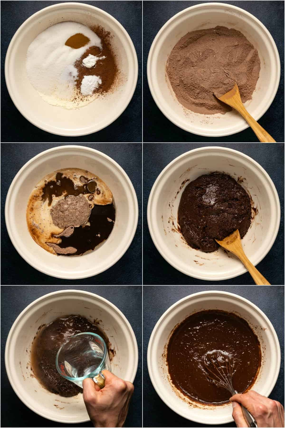 Step by step process photo collage of making the batter for a vegan gluten free chocolate cake.