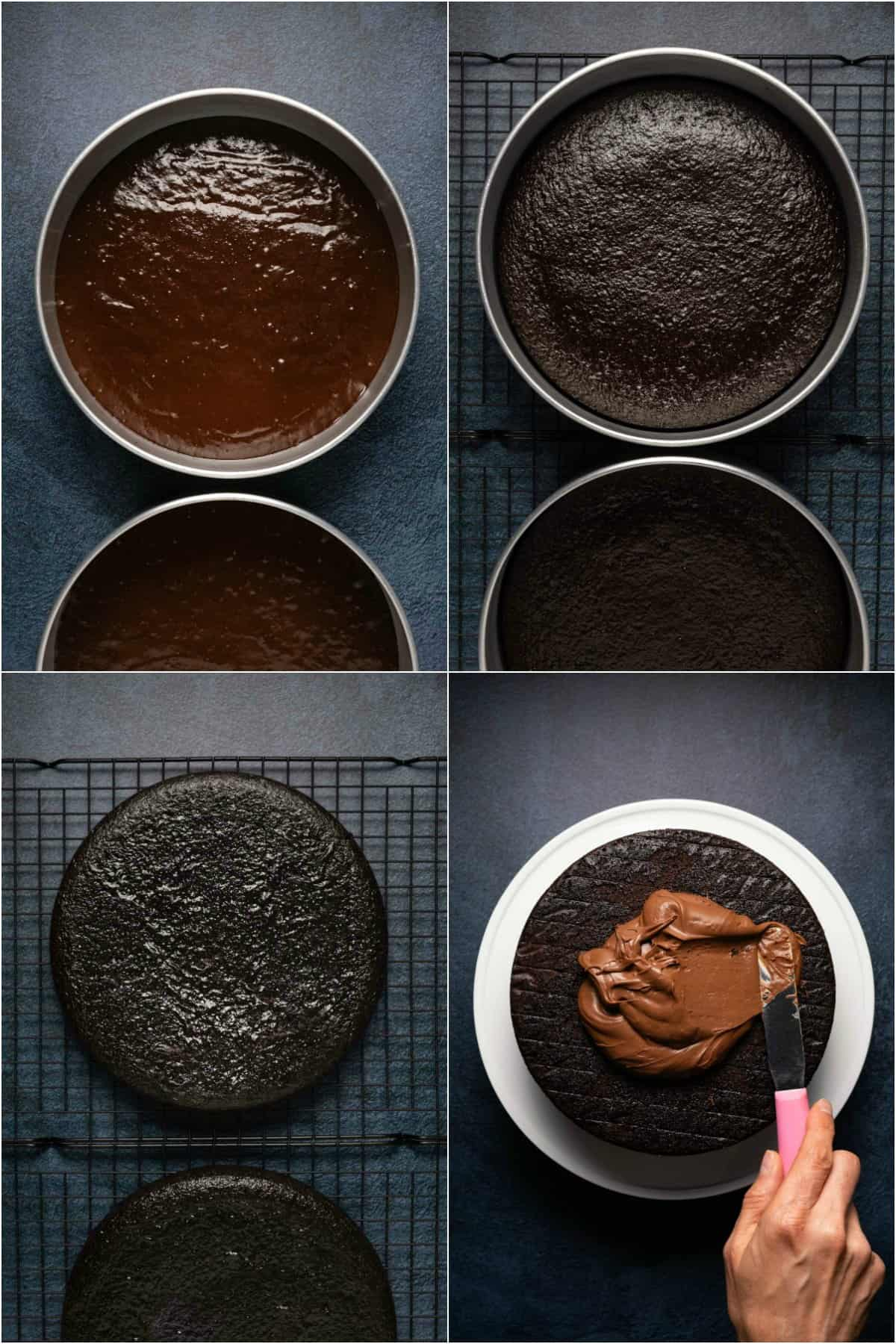 Step by step process photo collage of making a vegan gluten free chocolate cake.