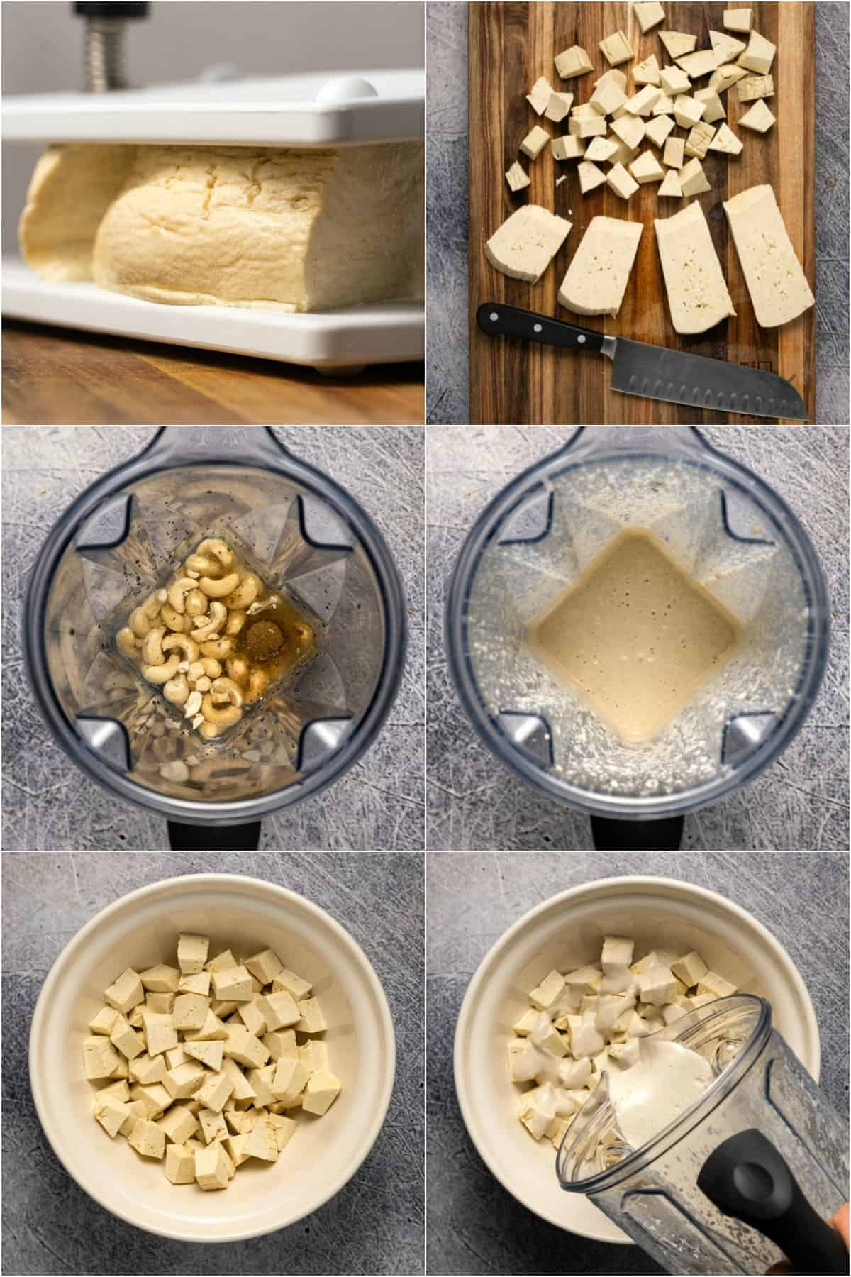 Step by step process photo collage of preparing tofu and vegan yogurt sauce for vegan butter chicken.