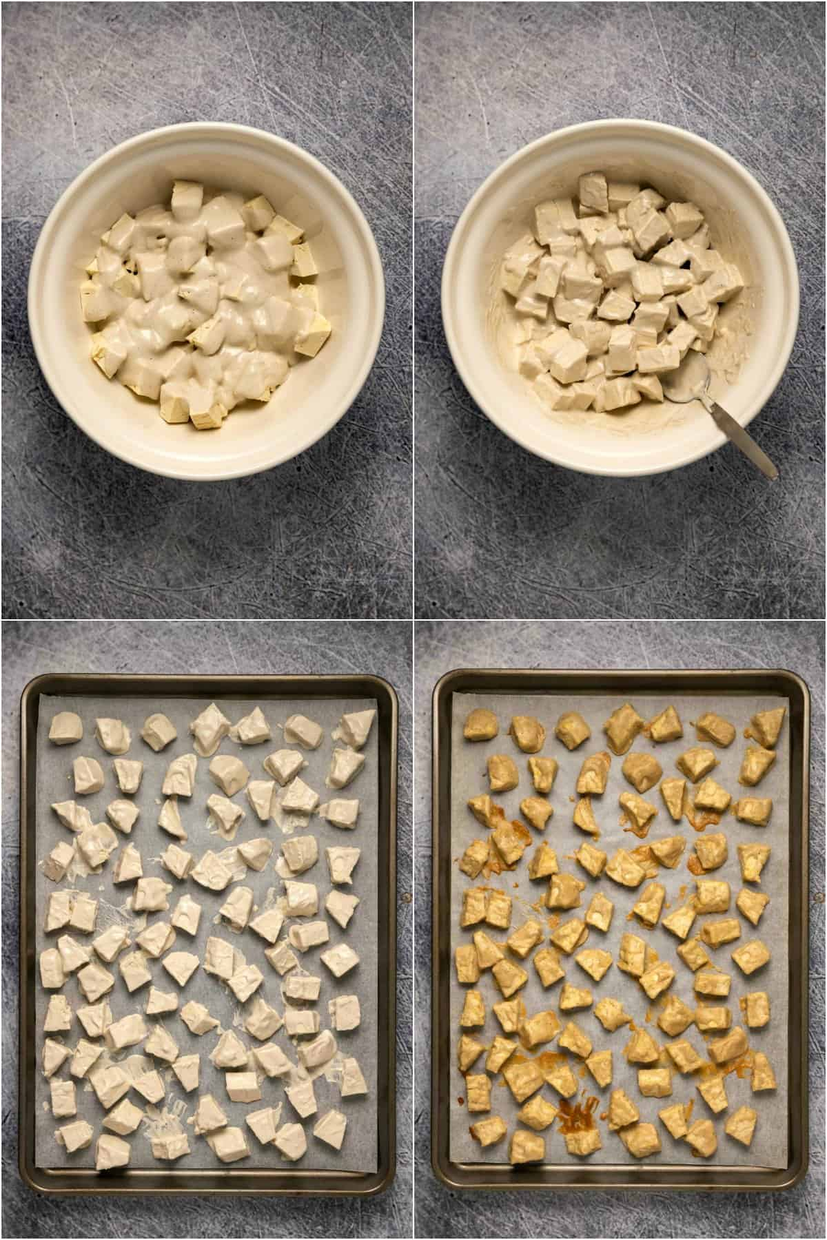Step by step process photo collage of preparing and baking tofu for vegan butter chicken.
