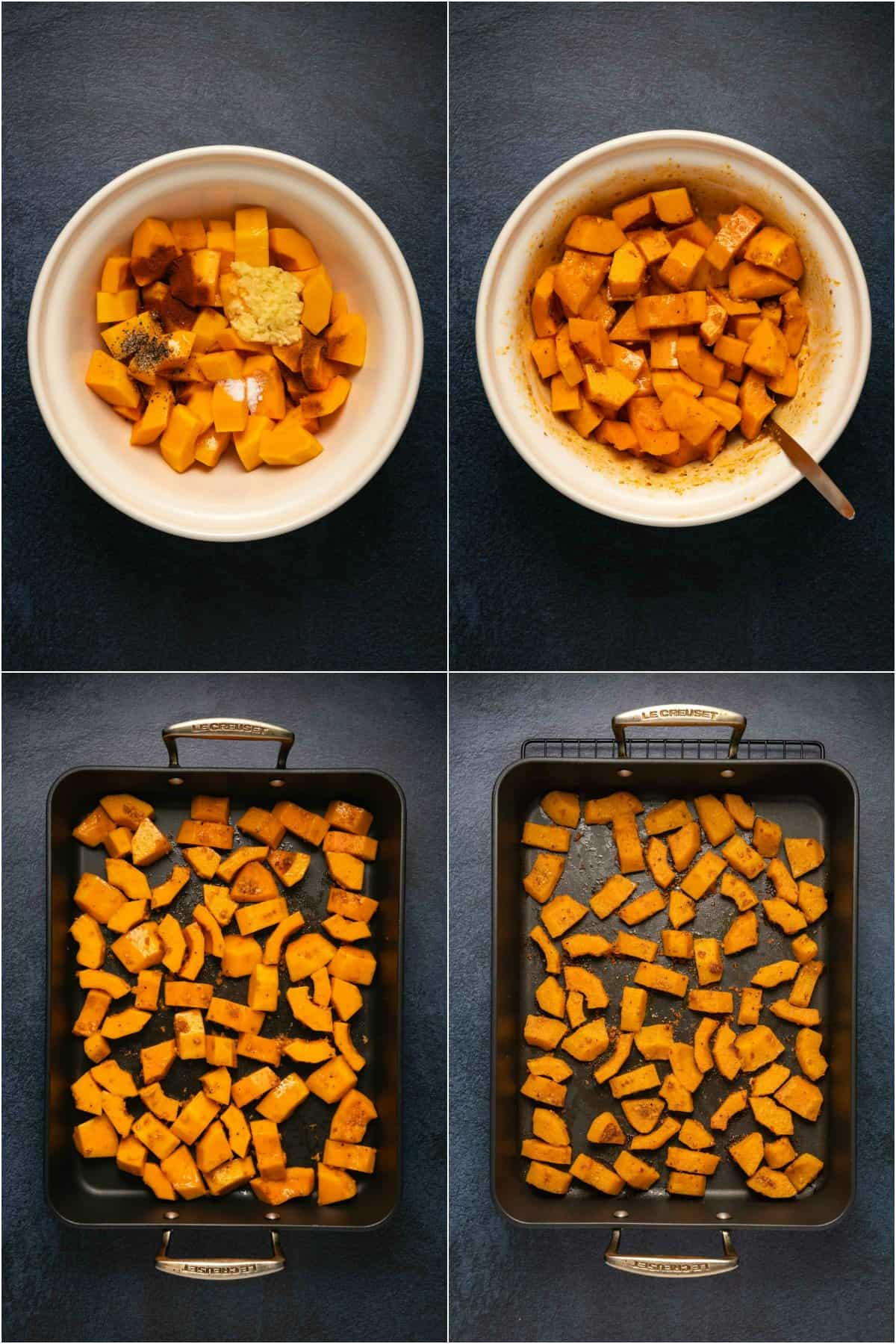 Step by step process photo collage of making roasted butternut squash.