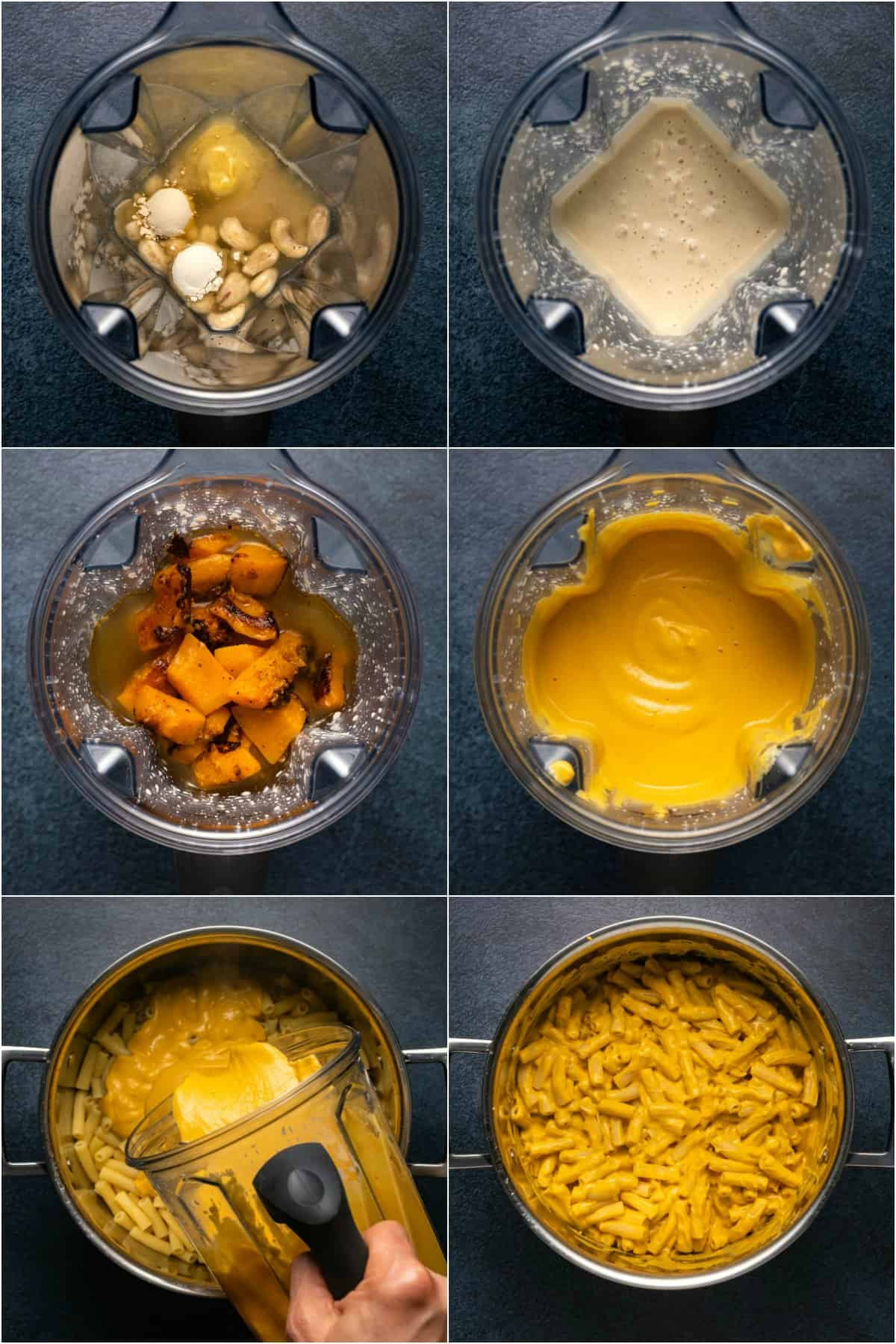 Step by step process photo collage of making vegan butternut squash mac and cheese.