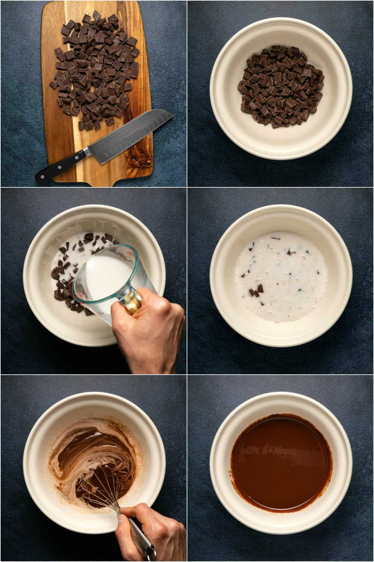 Step by step process photo collage of making vegan chocolate ganache.