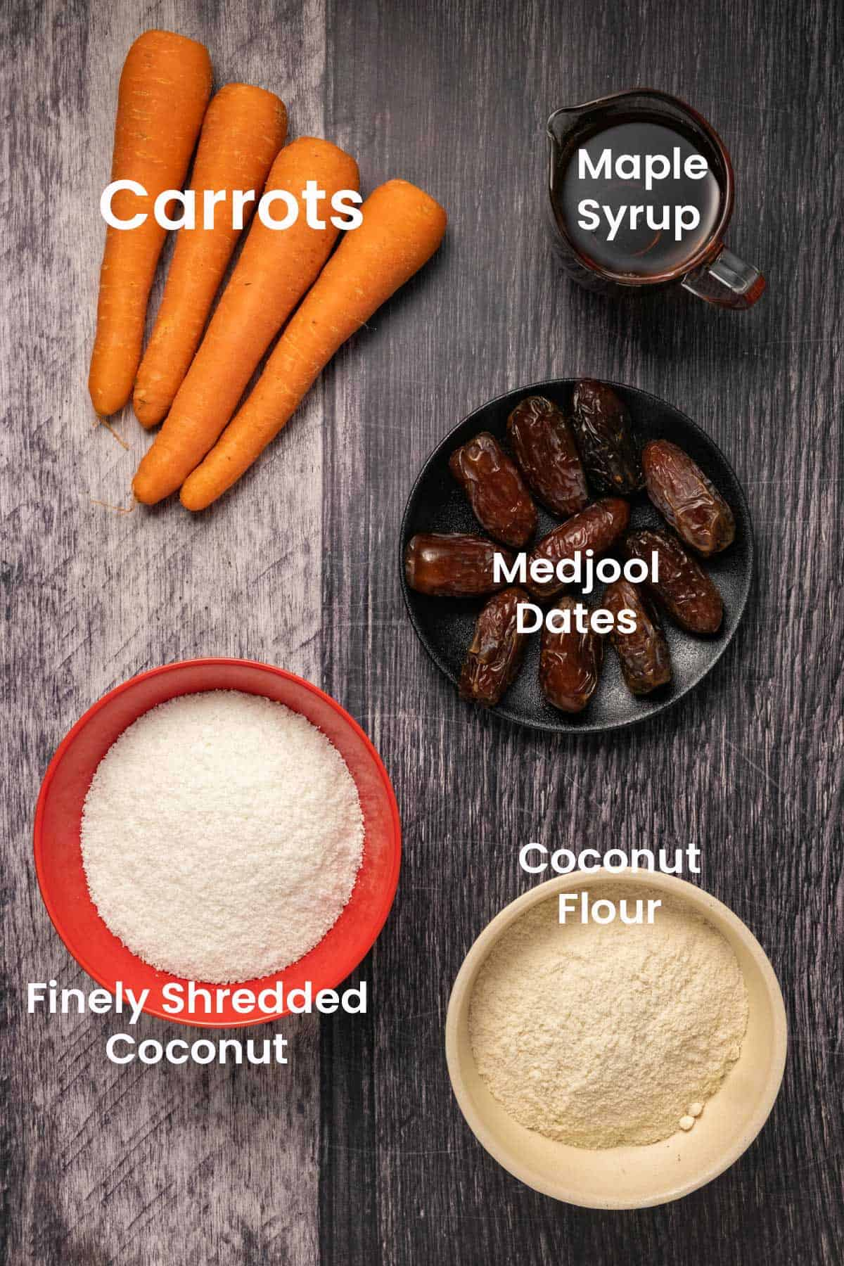 Photo of ingredients needed to make carrot cake balls.