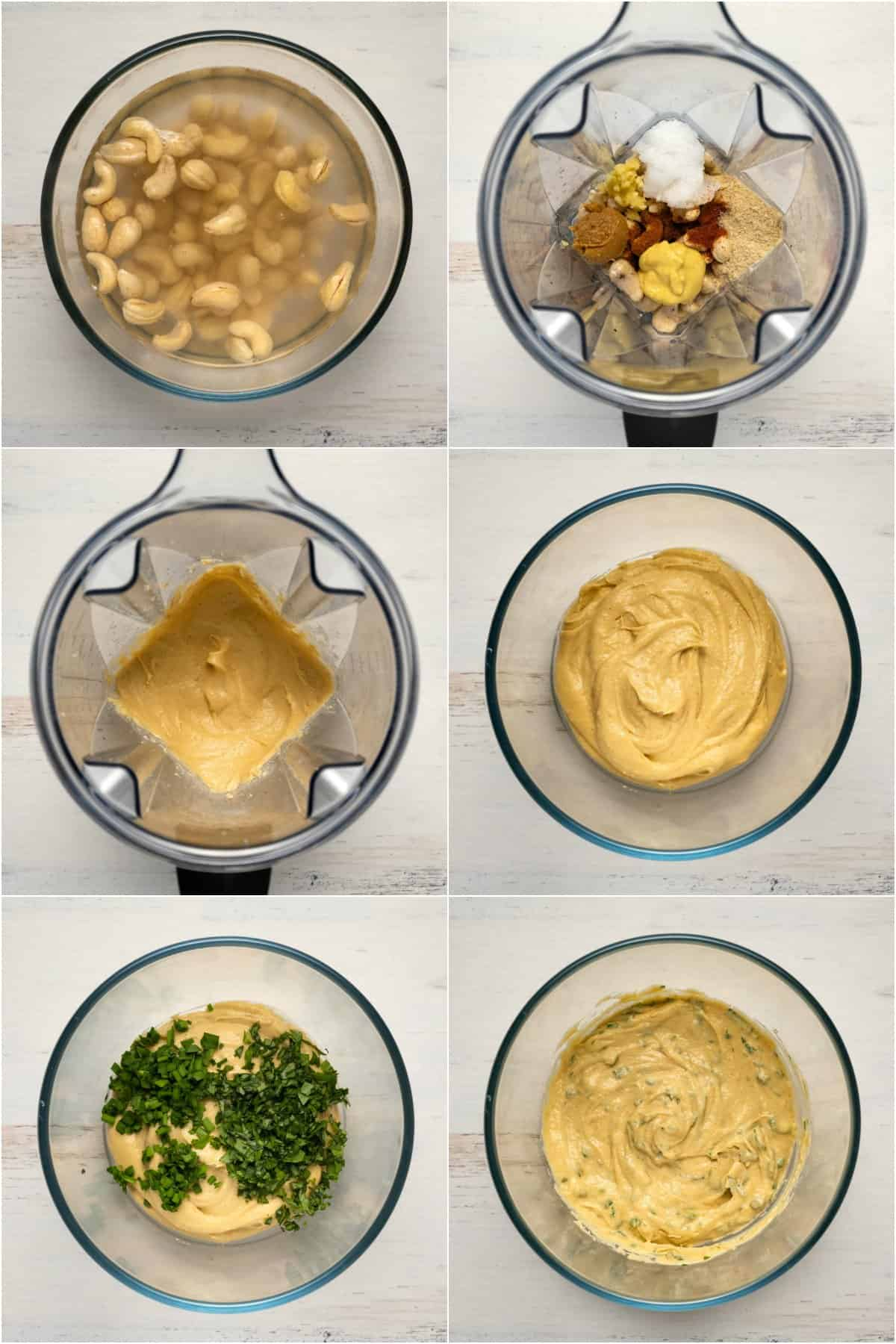 Step by step process photo collage of making a vegan cheese ball.