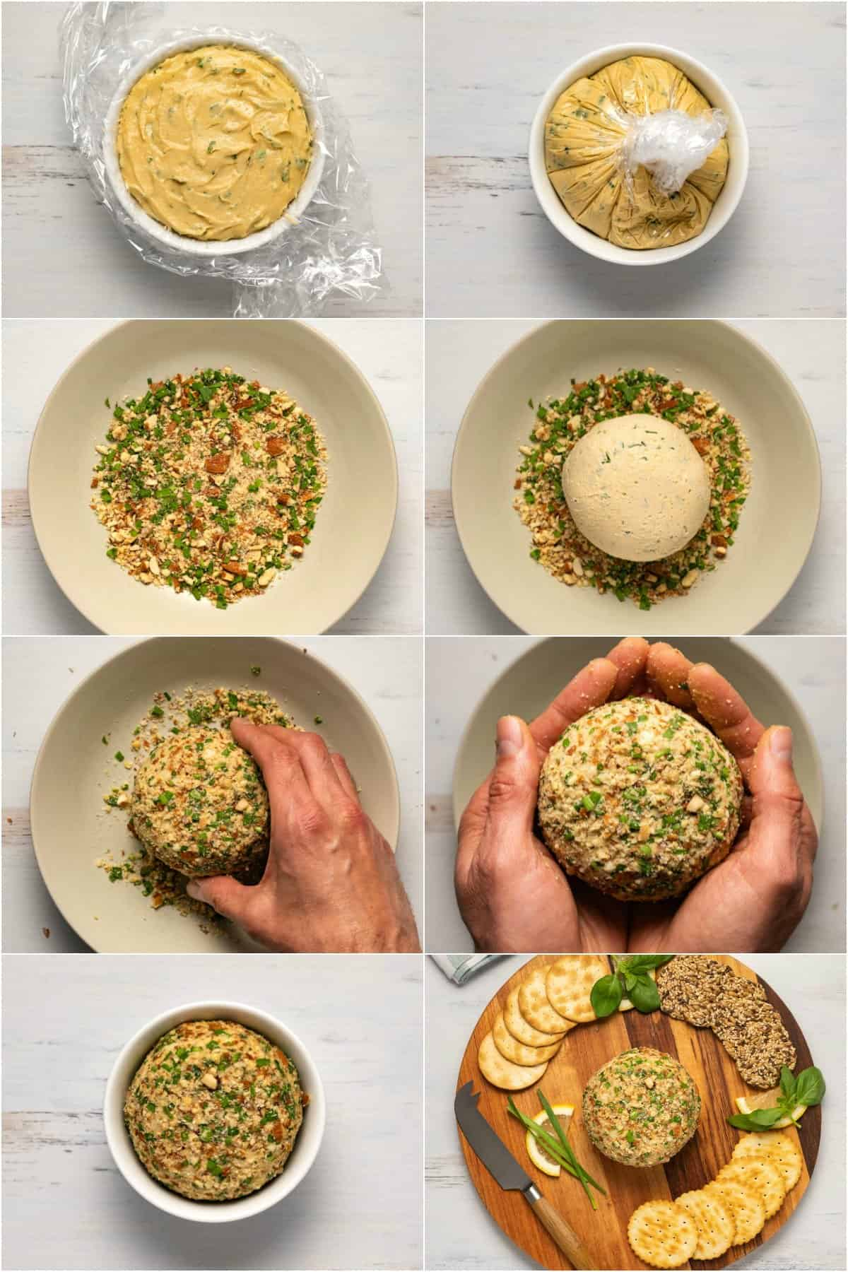 Step by step process photo collage of a vegan cheese ball being prepared.