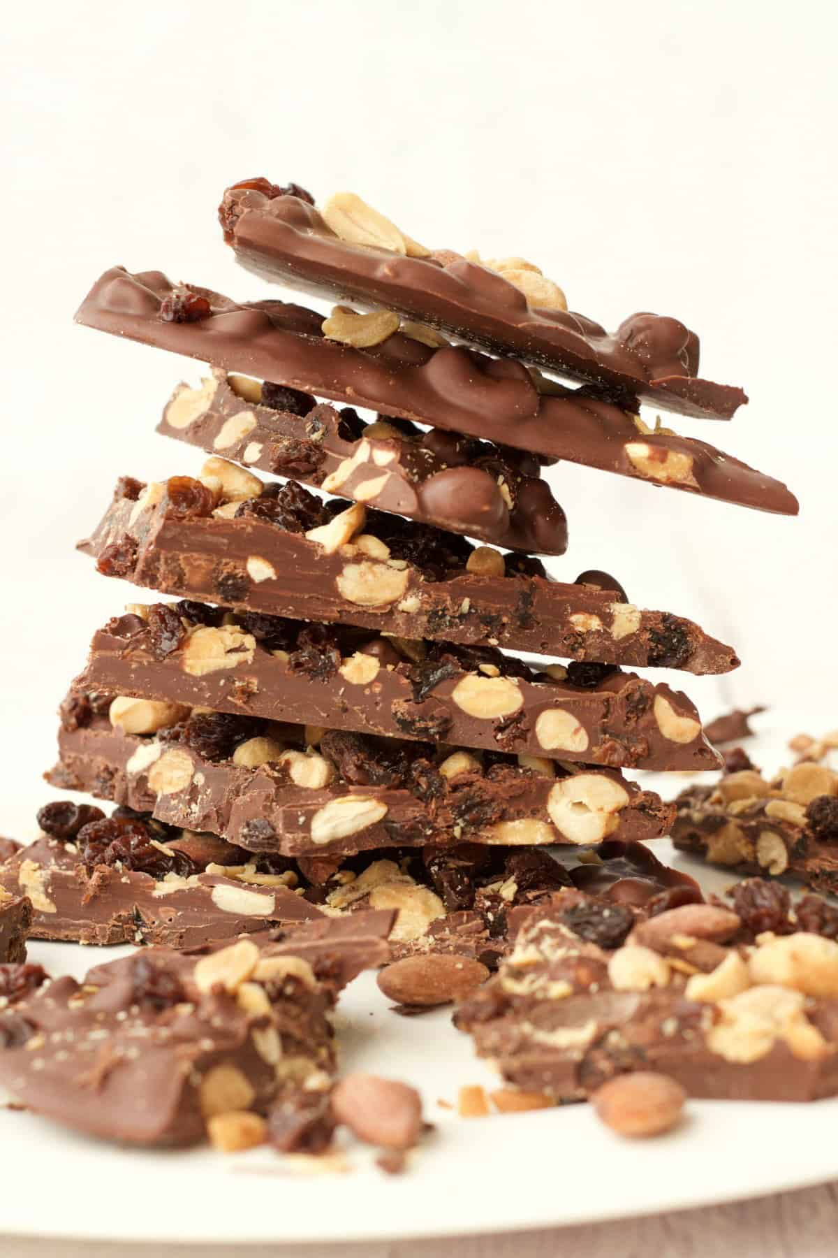 Stack of chocolate bark on a white plate.