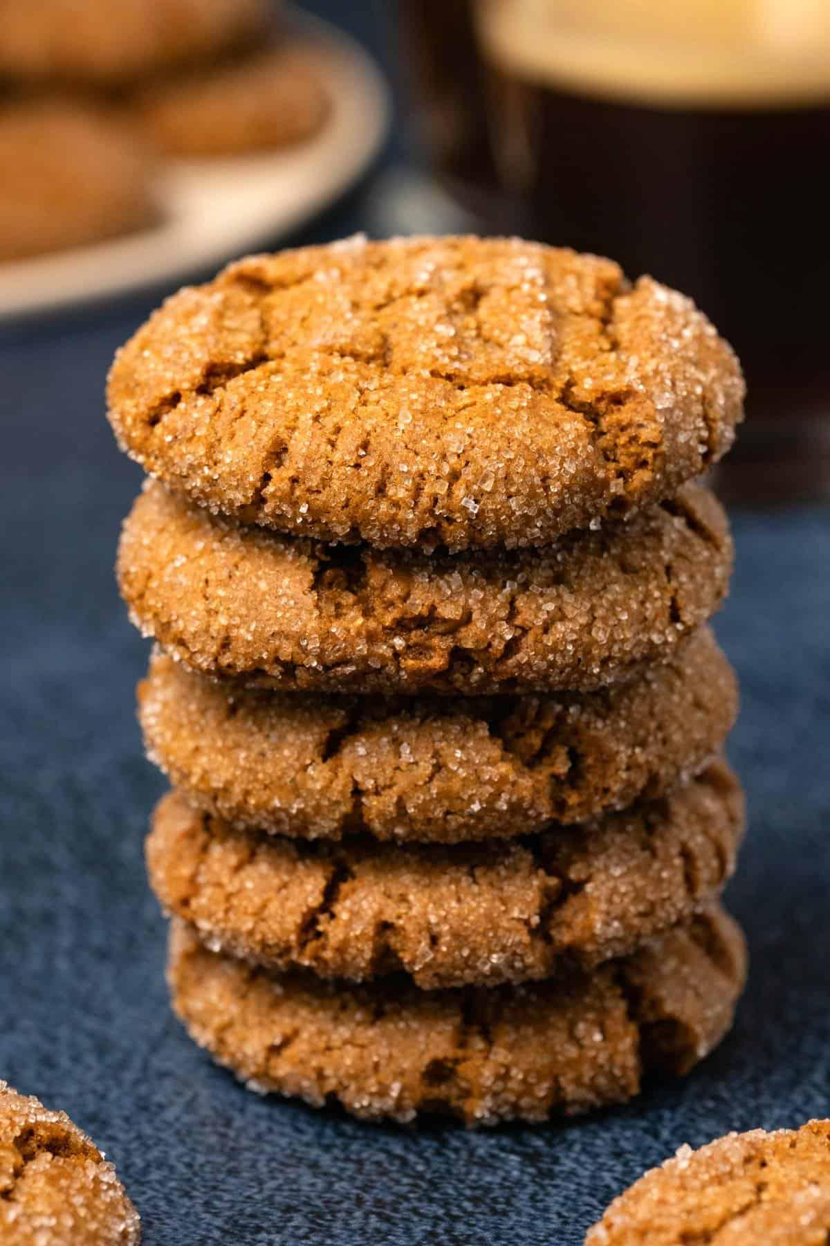 Vegan ginger cookies in a stack.