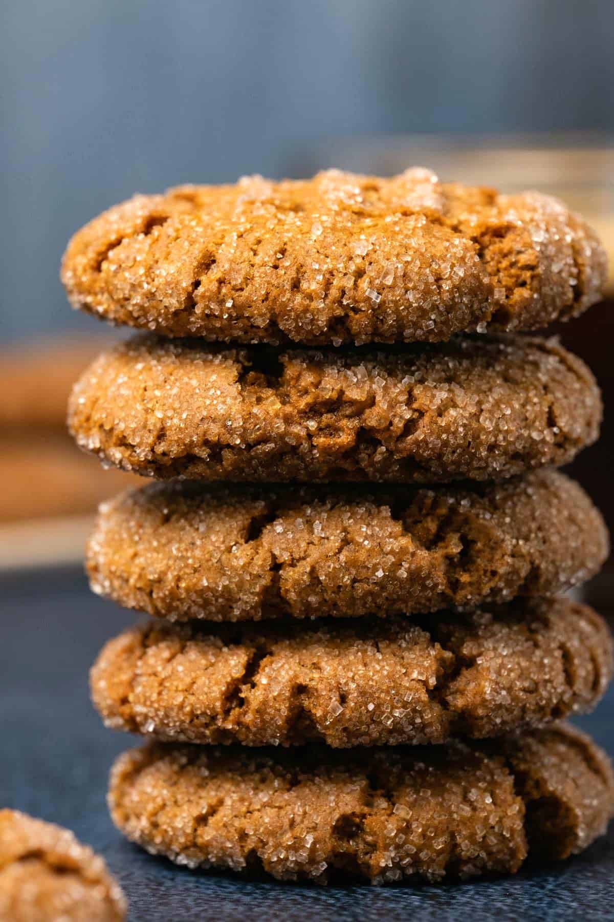 Tall stack of ginger cookies.