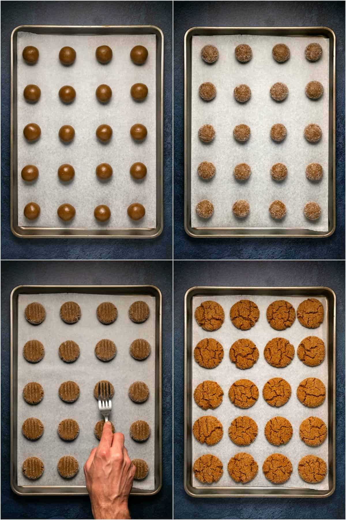 Step by step process photo collage of making vegan ginger cookies.