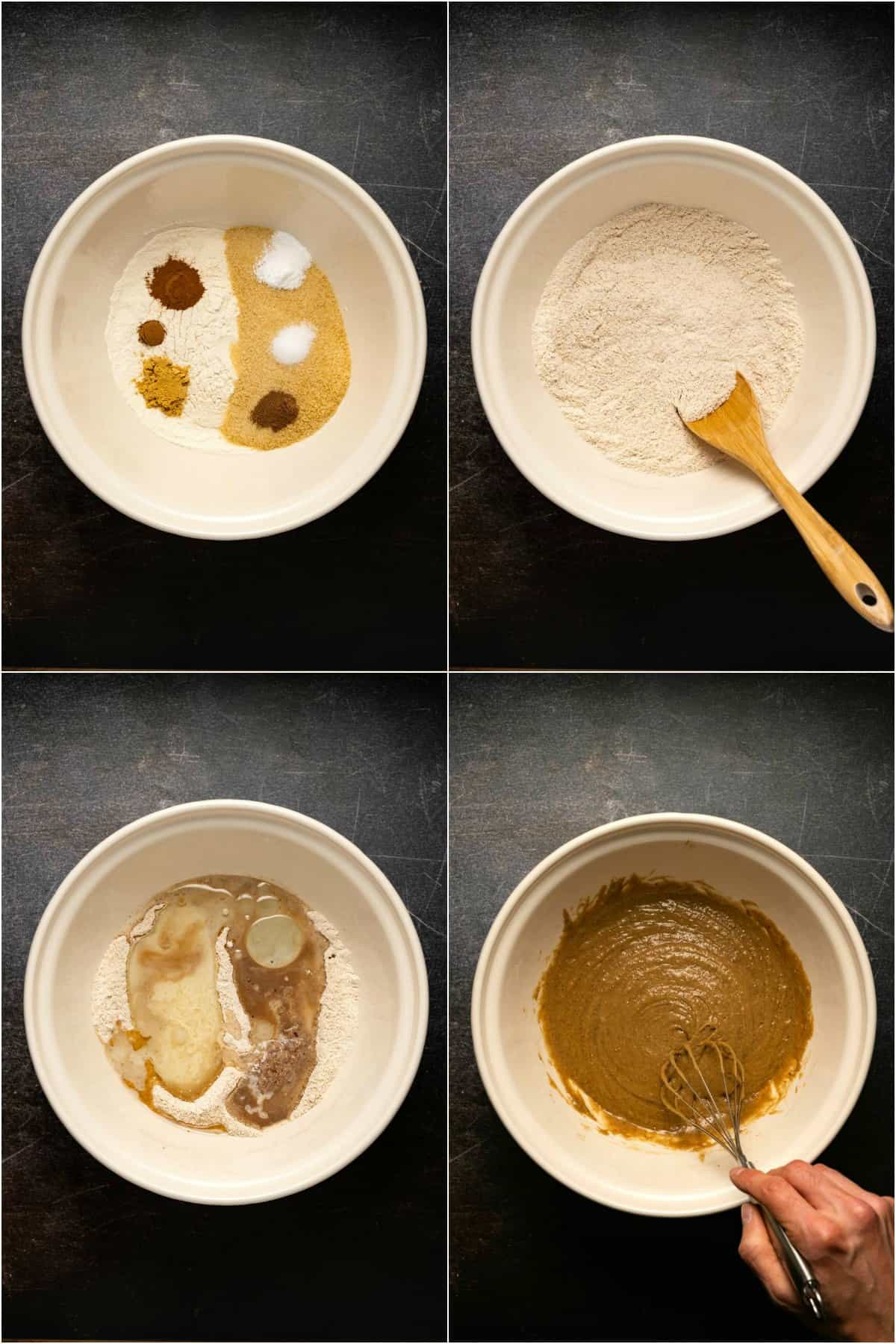 Step by step process photo collage of making the batter for vegan gingerbread cake.