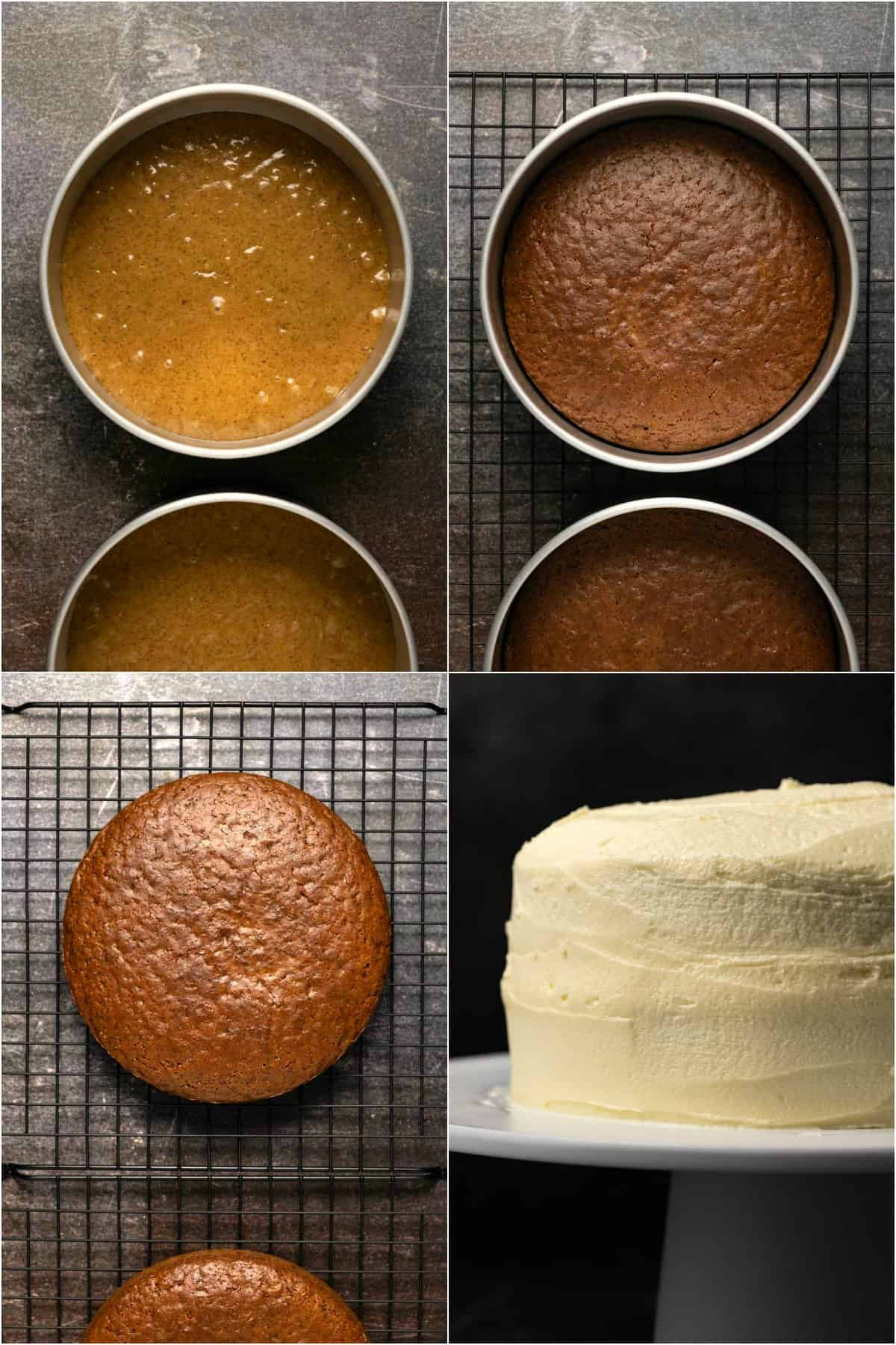 Step by step process photo collage of making a vegan gingerbread cake.