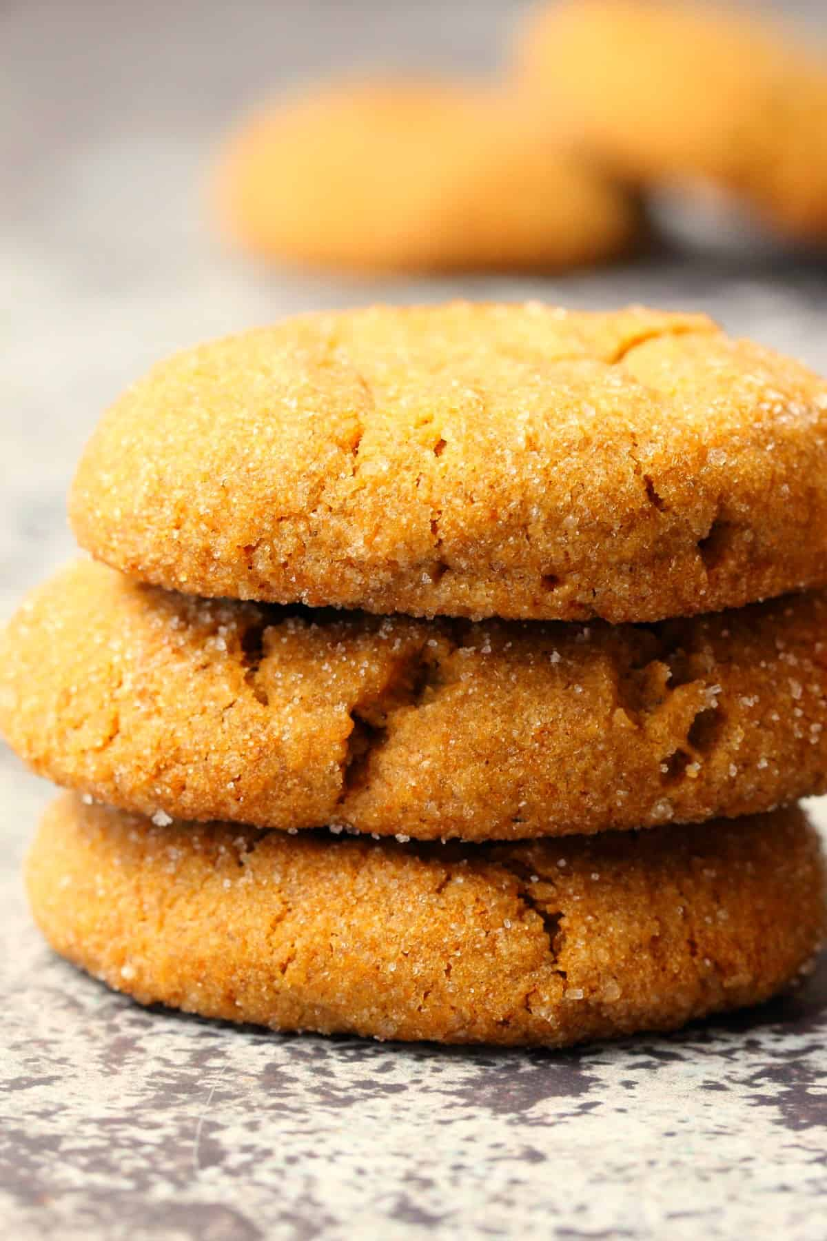 A stack of molasses cookies.