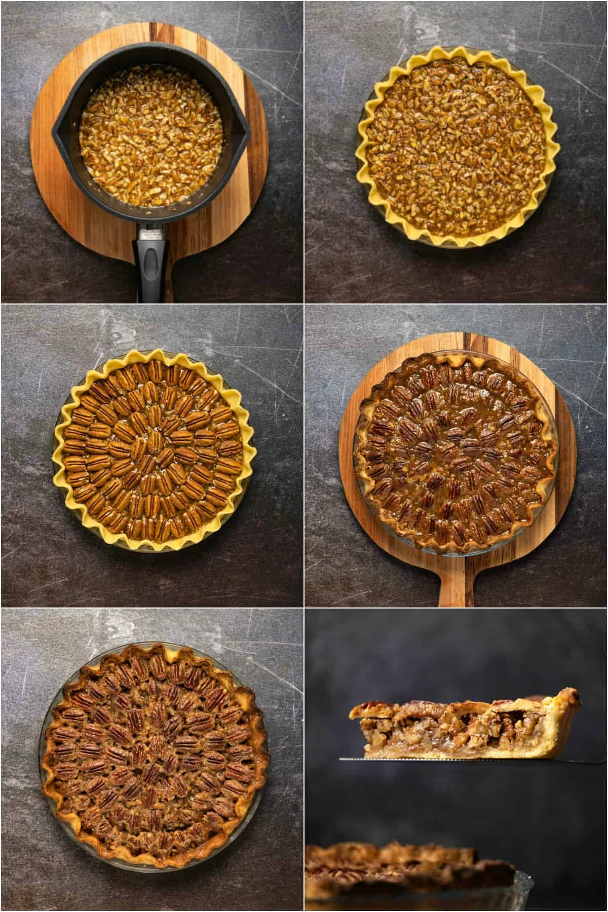 Step by step process photo colalge of making a vegan pecan pie.