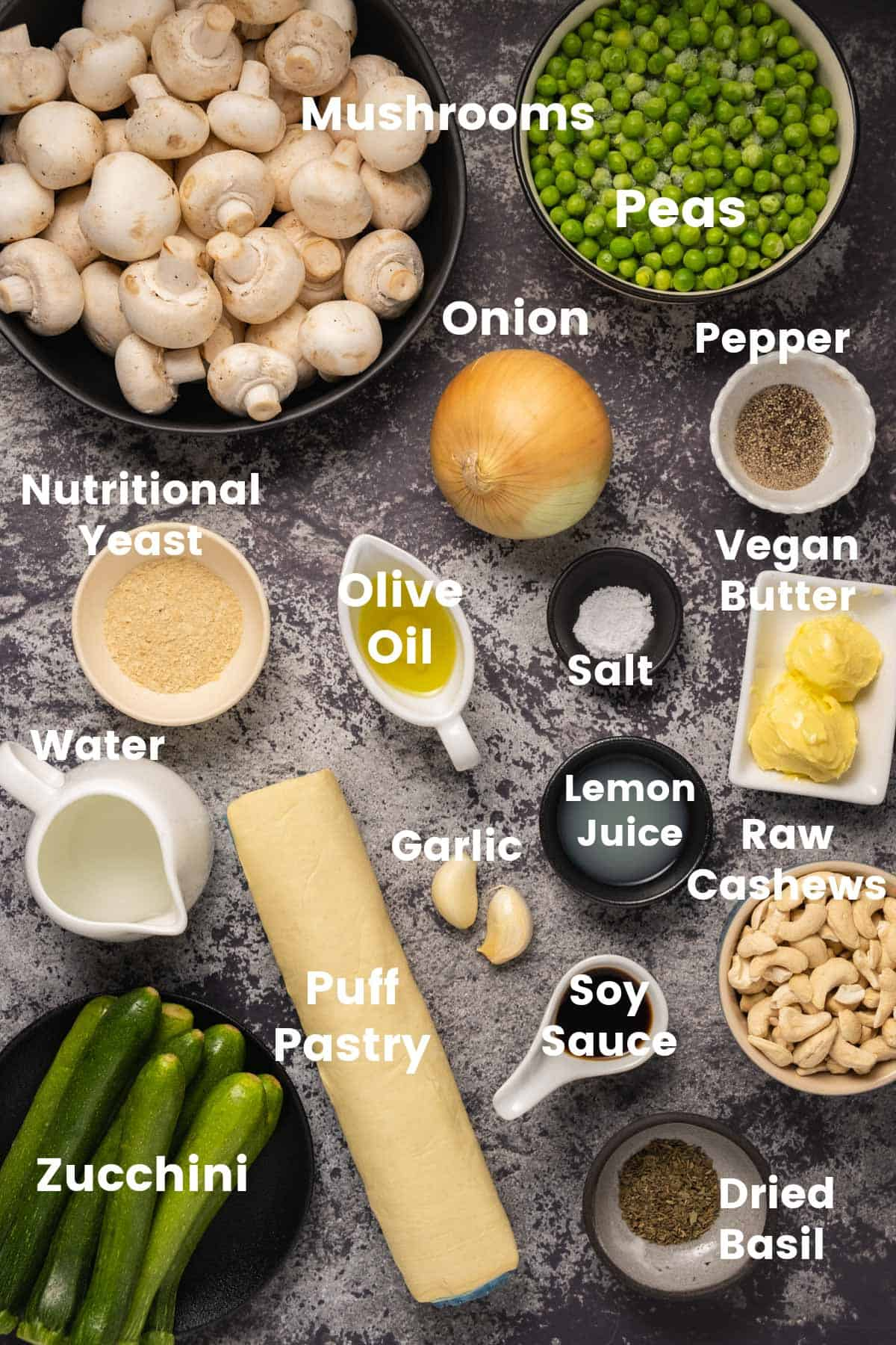 Photo of ingredients needed to make a vegan pot pie.