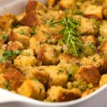 Vegan stuffing in a white dish