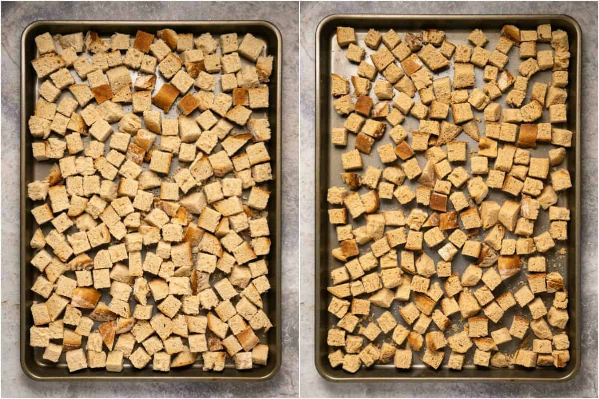 Two photo collage showing the preparation of bread cubes for stuffing.
