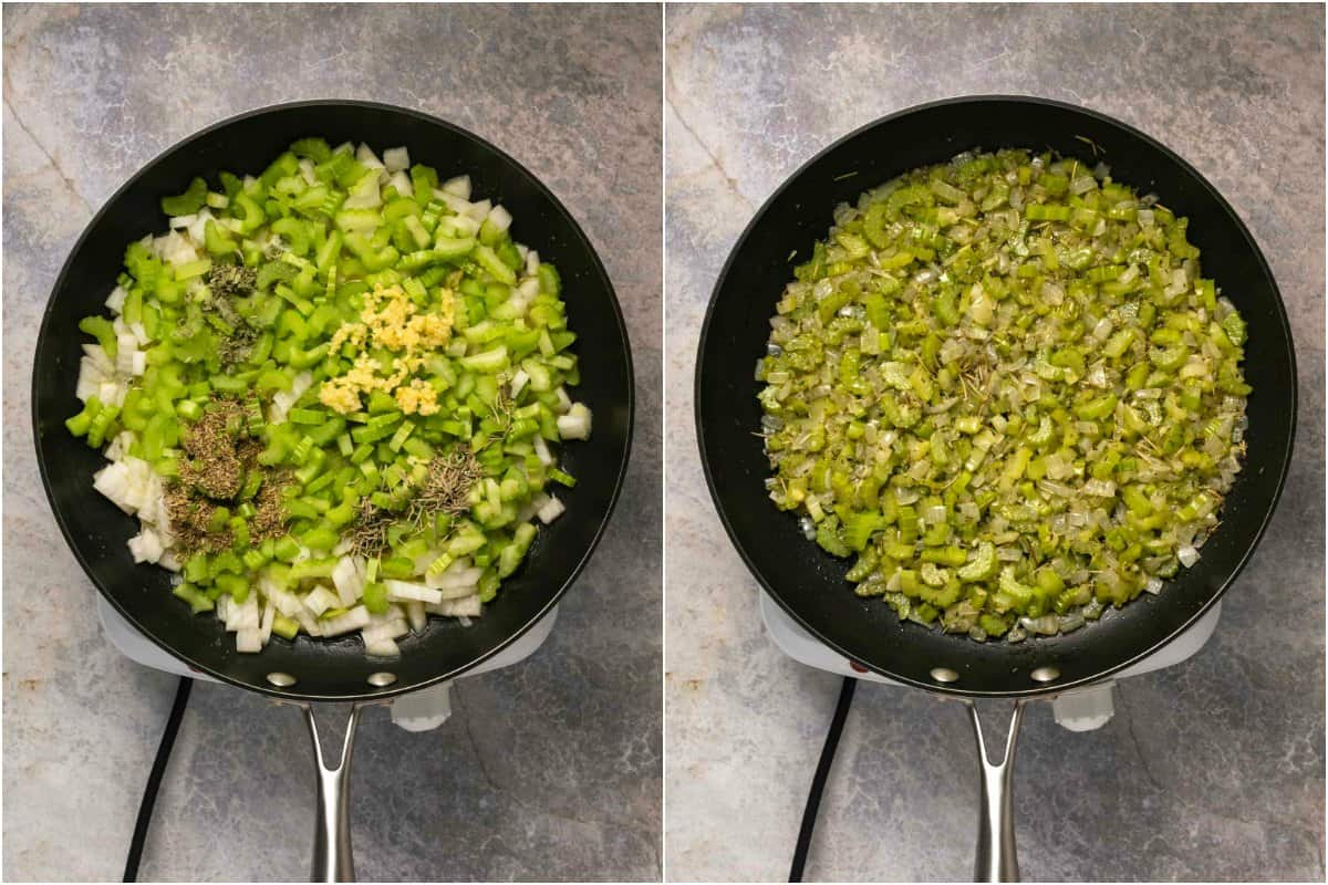 Two photo collage showing the preparation of celery, onions and spices for stuffing.